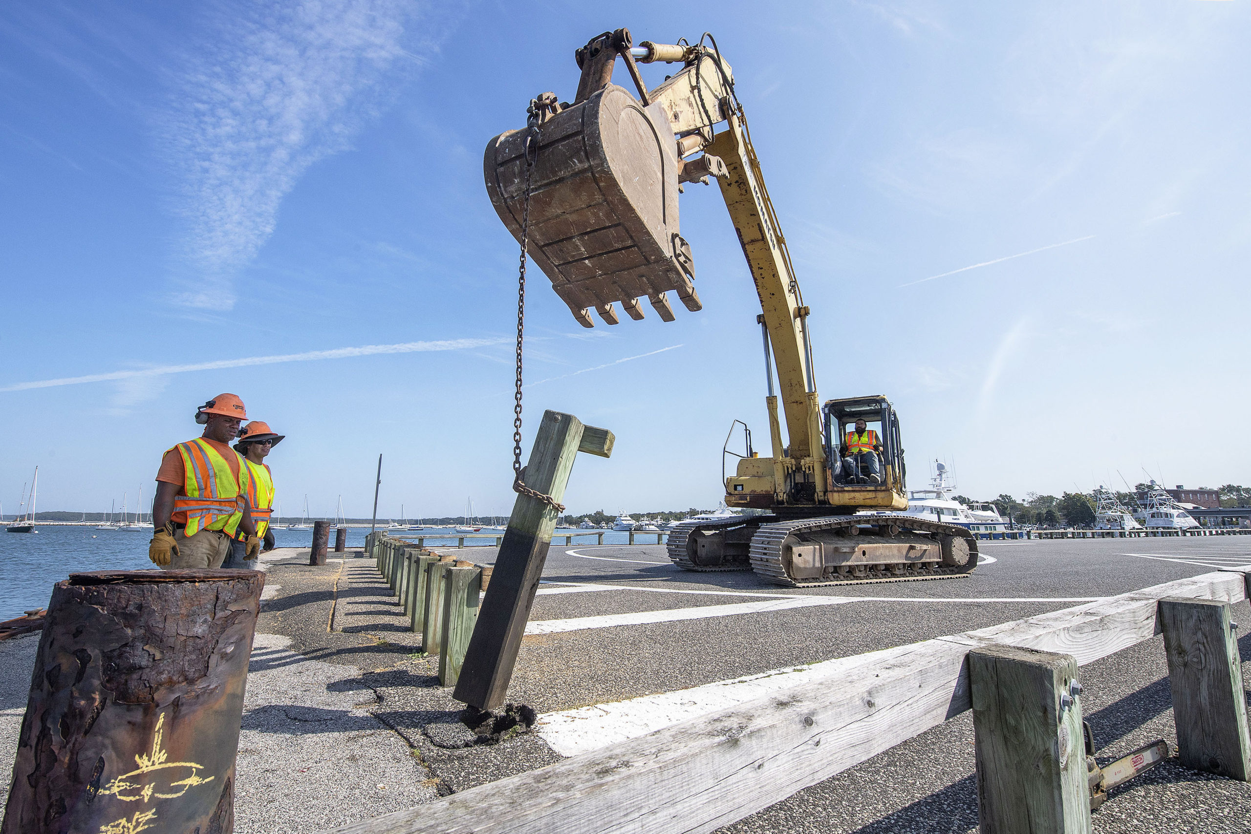 Work, which began last fall on Sag Harbor's Long Wharf, is nearing complettion. MICHAEL HELLER