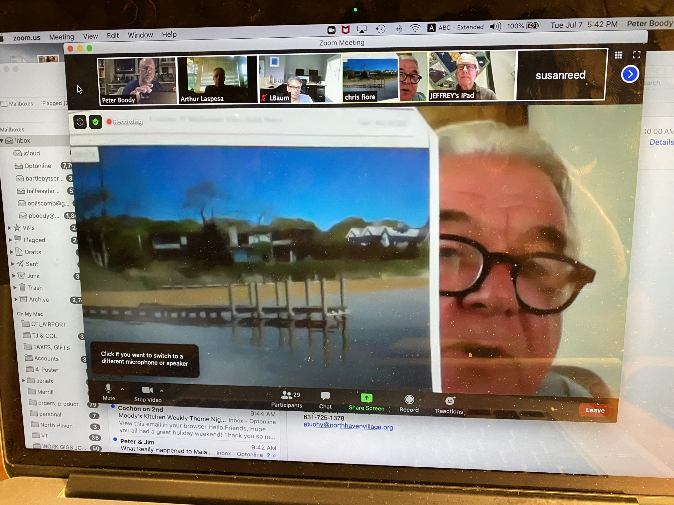 "North Haven Trustee Chris Fiore shows a rendering of Larry Baum's proposed dock during the Village Board's July 7 Zoom session and the dock's apparent position in relation to neighbor Susan Dusenberry's house in background. He said the dock ""pretty much destroys"" Ms. Dusenberry's ""quiet enjoyment"" of her property."