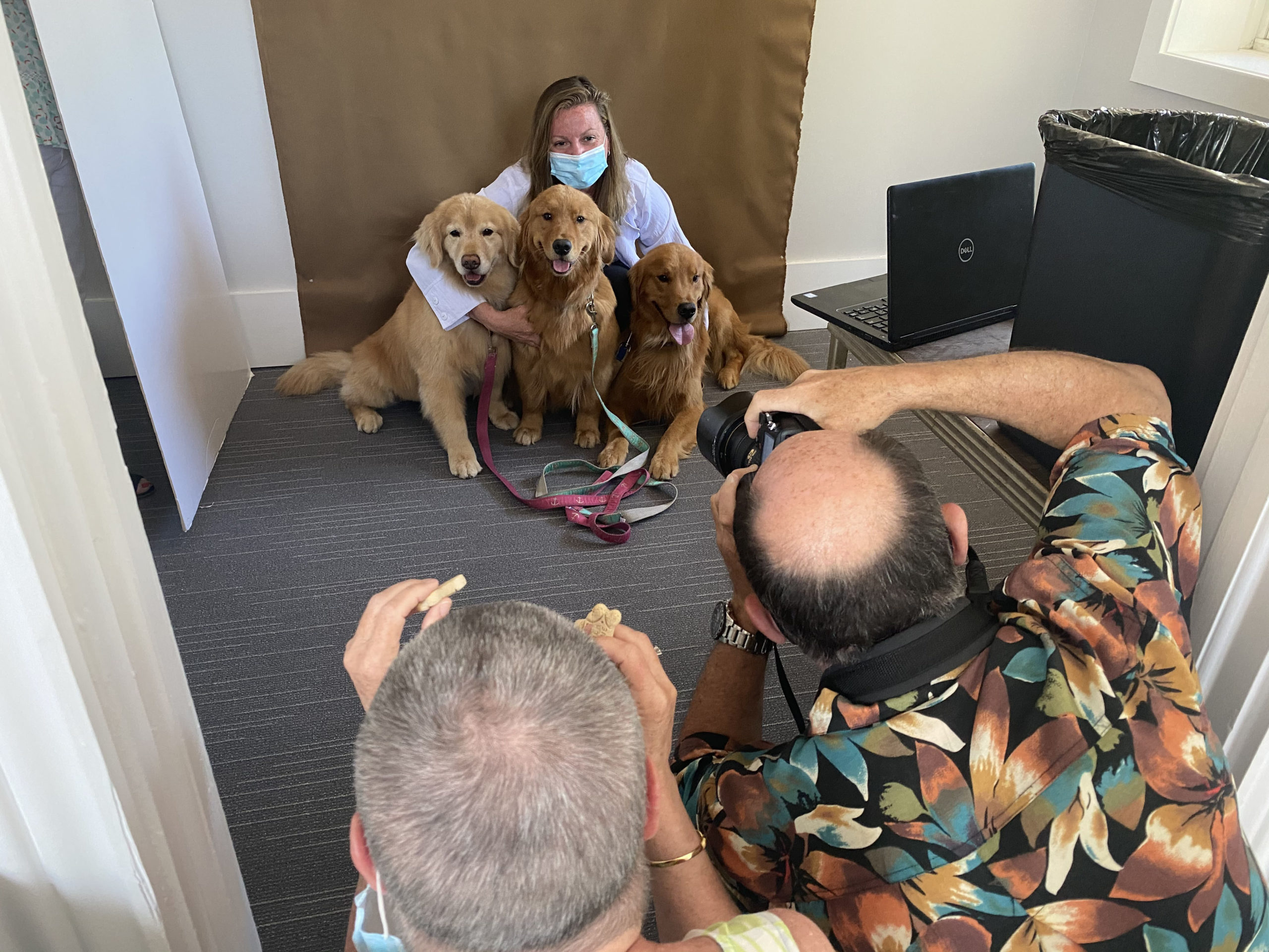 Dr. Dawn Stelling, a veterinarian at Olde Towne Animal Hospital in Southampton, poses with her dogs at Southampton Village Hall on Thursday, July 2 for the