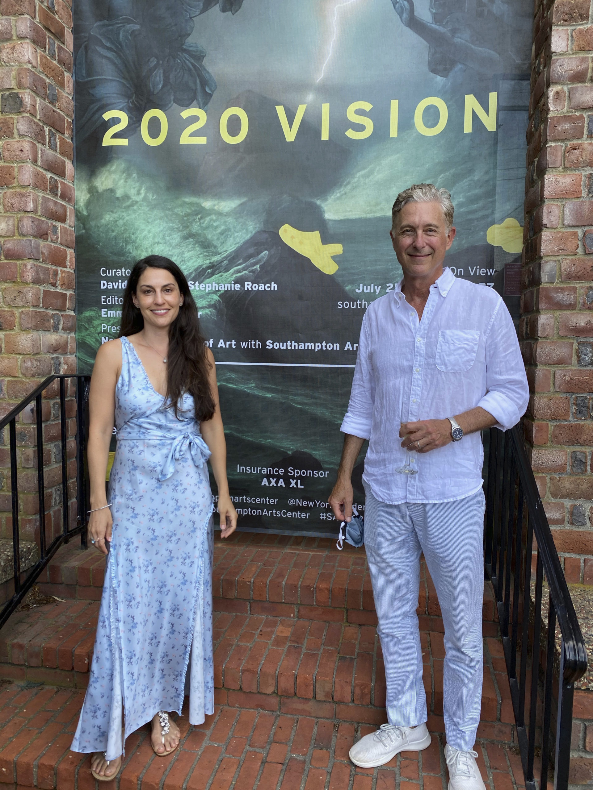 Stephanie Roach and David Kratz at the Southampton Arts Center 2020 Vision opening.