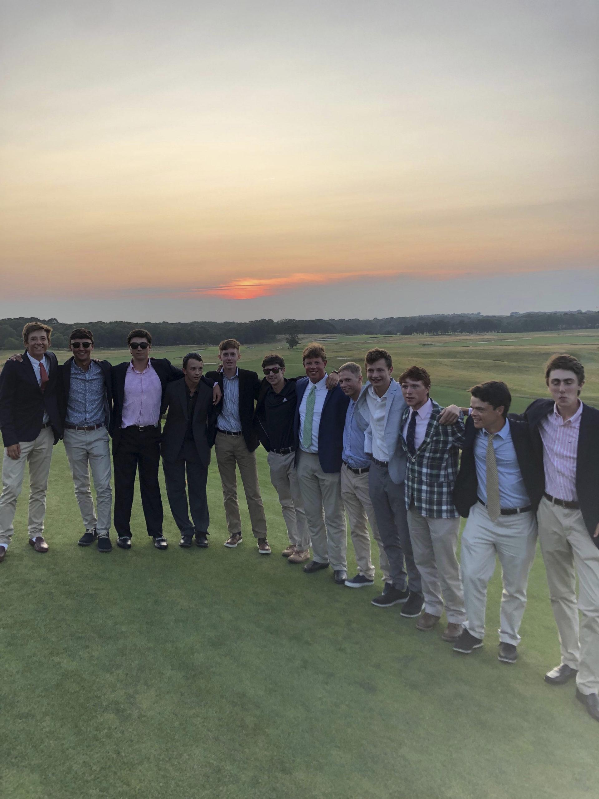 Brigham Hancock with some of his fellow caddies at Shinnecock Hills Golf Club.    COURTESY BRIGHAM HANCOCK