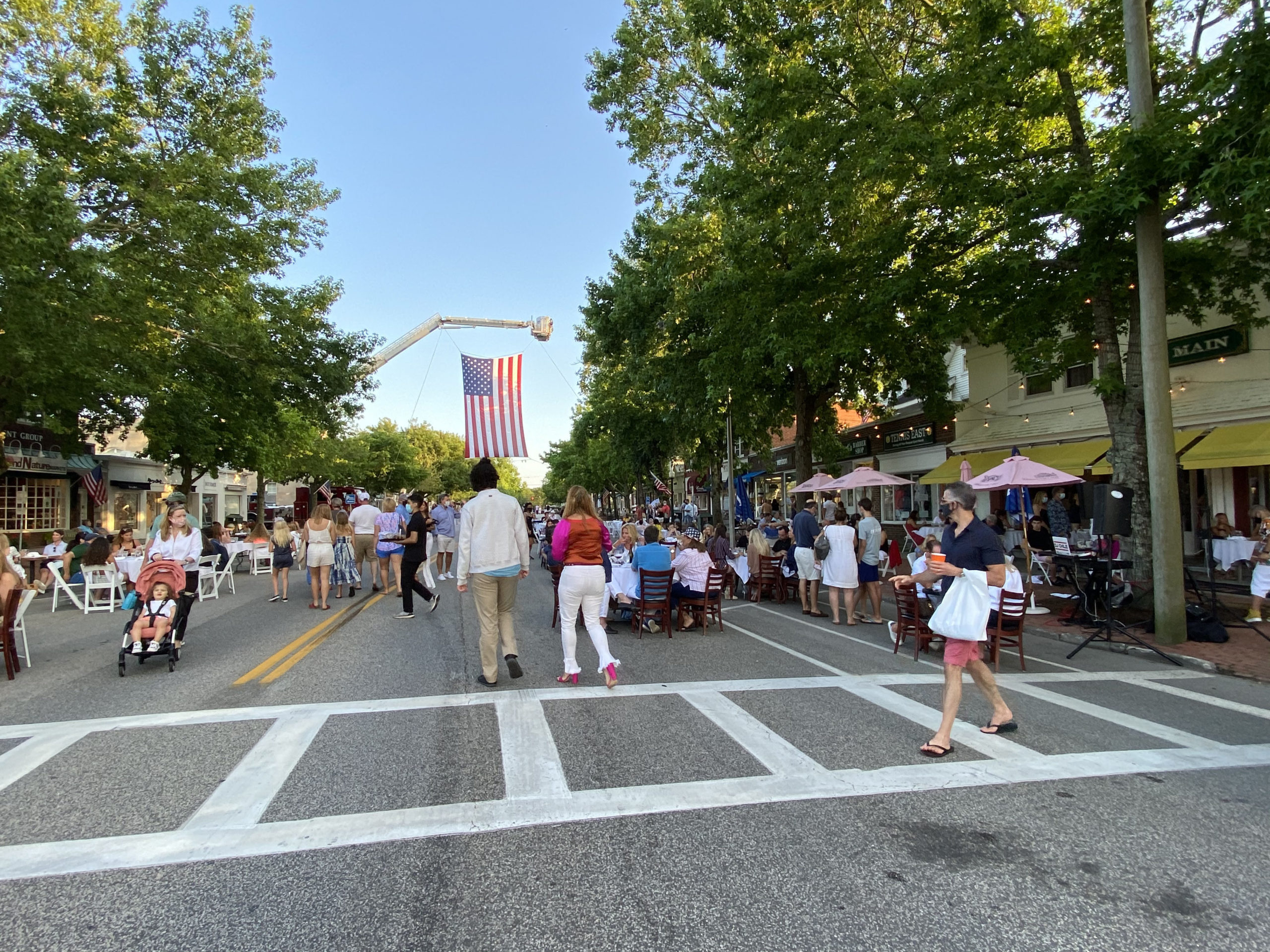 Southampton Village main Street on Saturday evening.  DANA SHAW