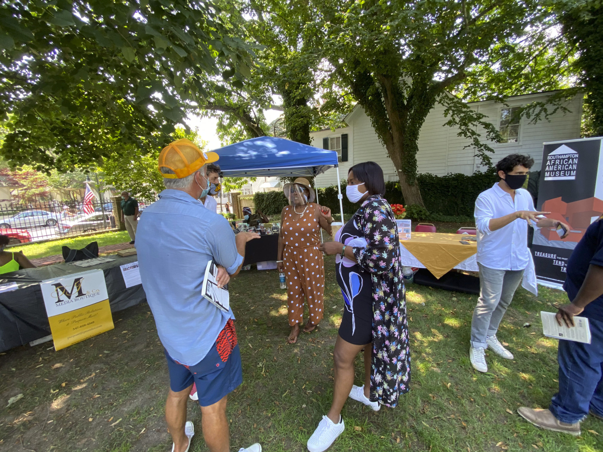 Brenda Simmons, center, at the Southampton Arts Center Unity Fest on Sunday afternoon.  DANA SHAW