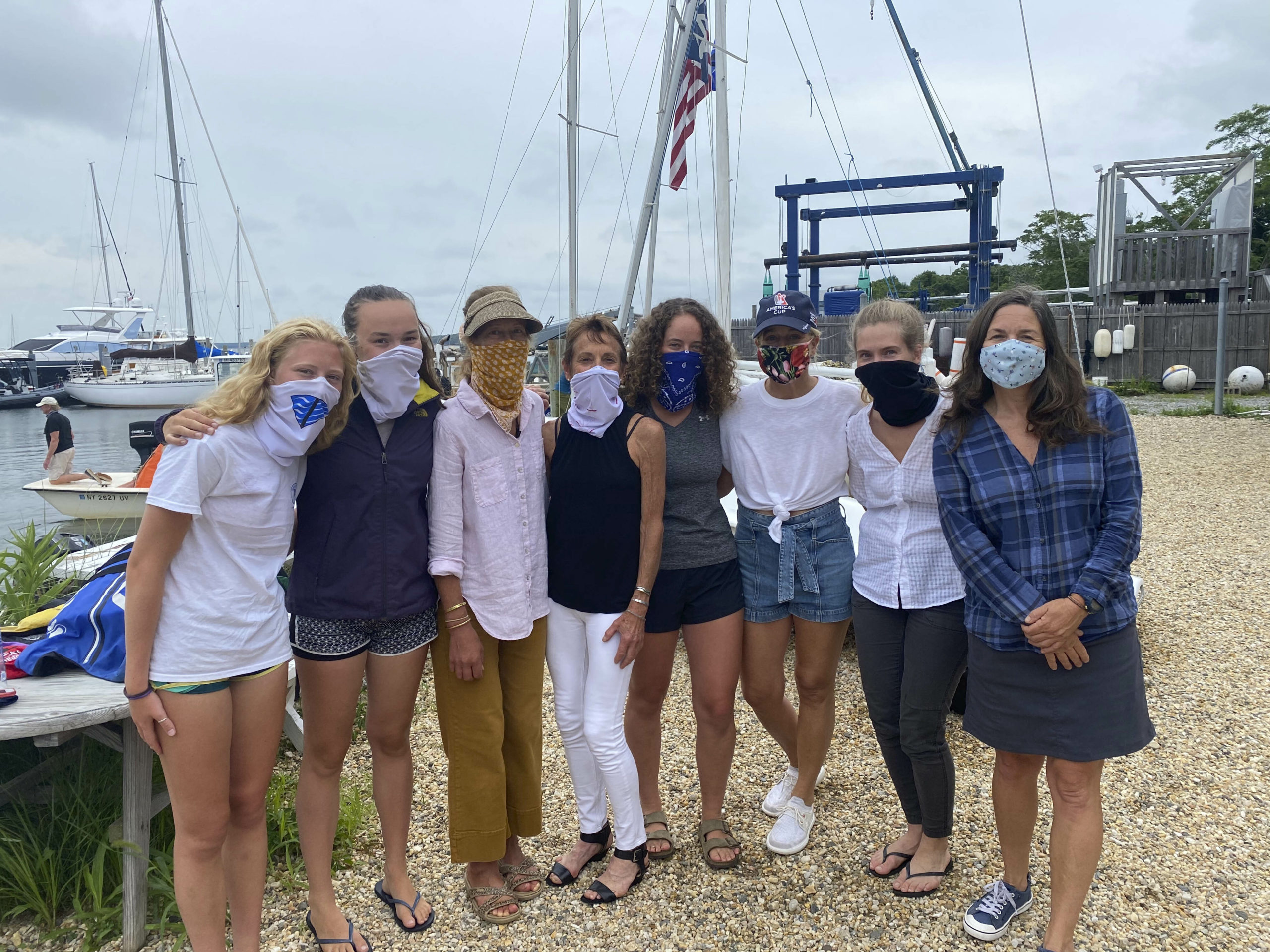 Laura O'Brien, Charlotte Kane, Sara Nightingale, Joan Butler, Cecilia de Havenon, Sarah Amaden, Amelia Steelman and Liz Joyce were some of the participants in the Oz Trophy Race at Breakwater Yacht Club in Sag Harbor on July 1.