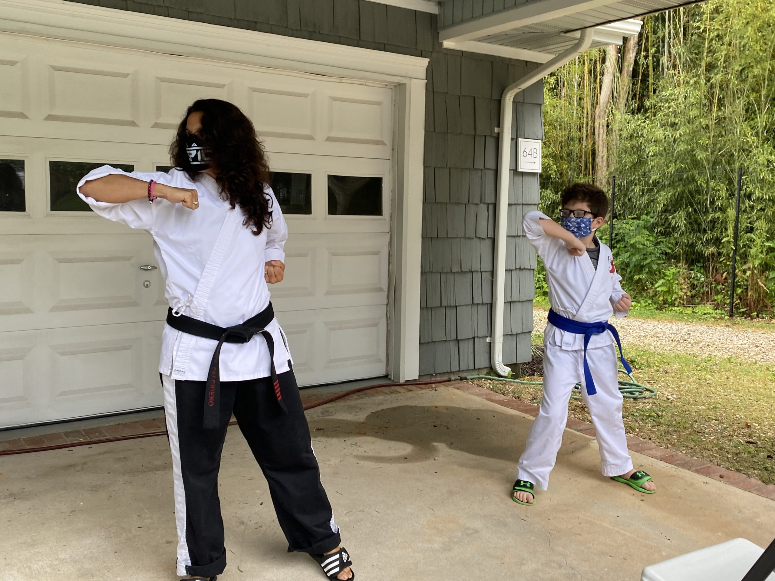 Michelle Del Giorno teaching a private martial arts lesson to student Wilson Lones at his home on Shelter Island