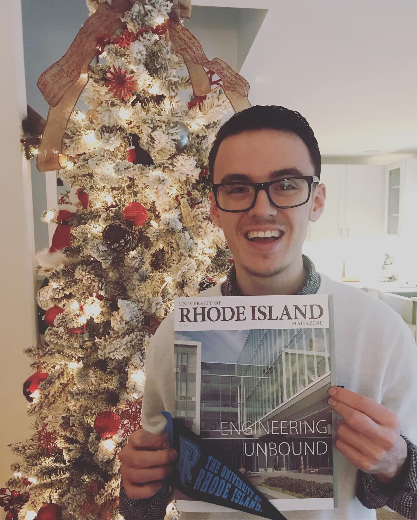 Tristan Halsey after recieving his acceptance to The University of Rhode Island.