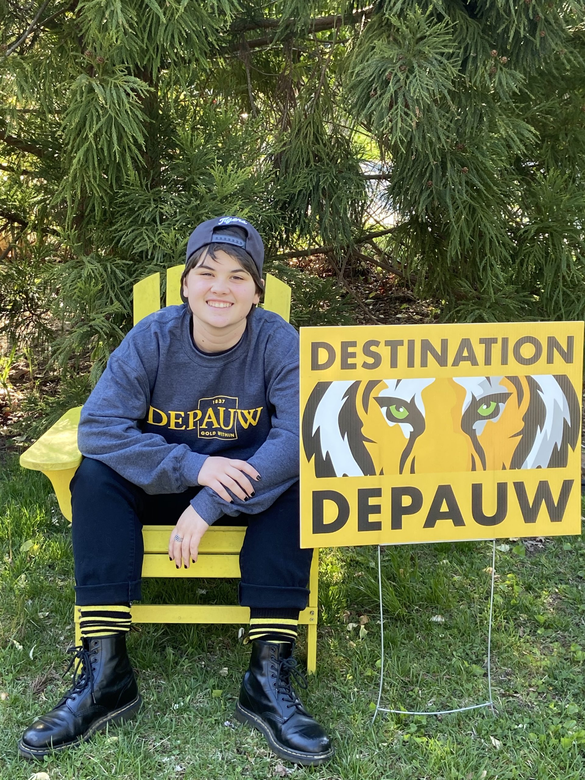 Marissa Kennedy proudly displays a DePauw yard sign.