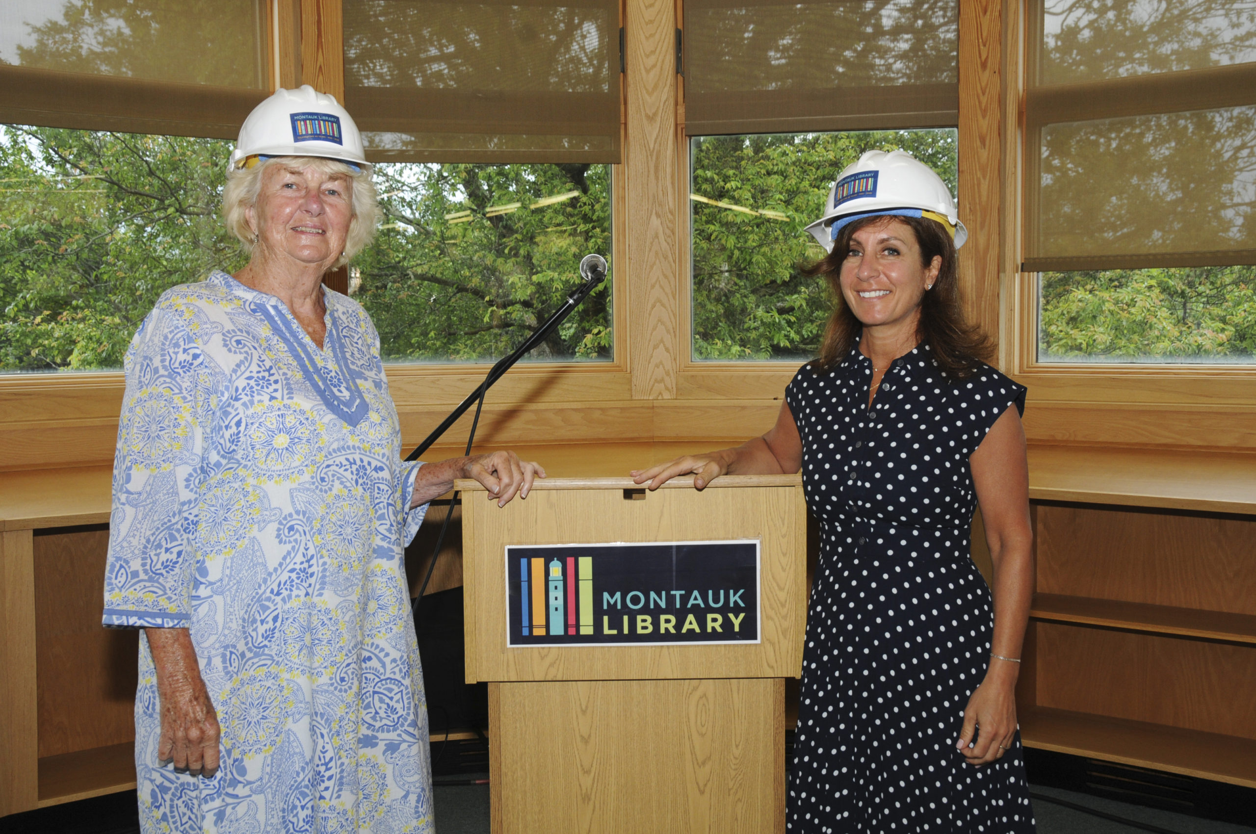 Montauk Library Board President Joan Lycke and Library Director Denise DiPaolo at the Montauk Library expansion and renovation building project groundbreaking ceremony on Friday, July 24. RICHARD LEWIN
