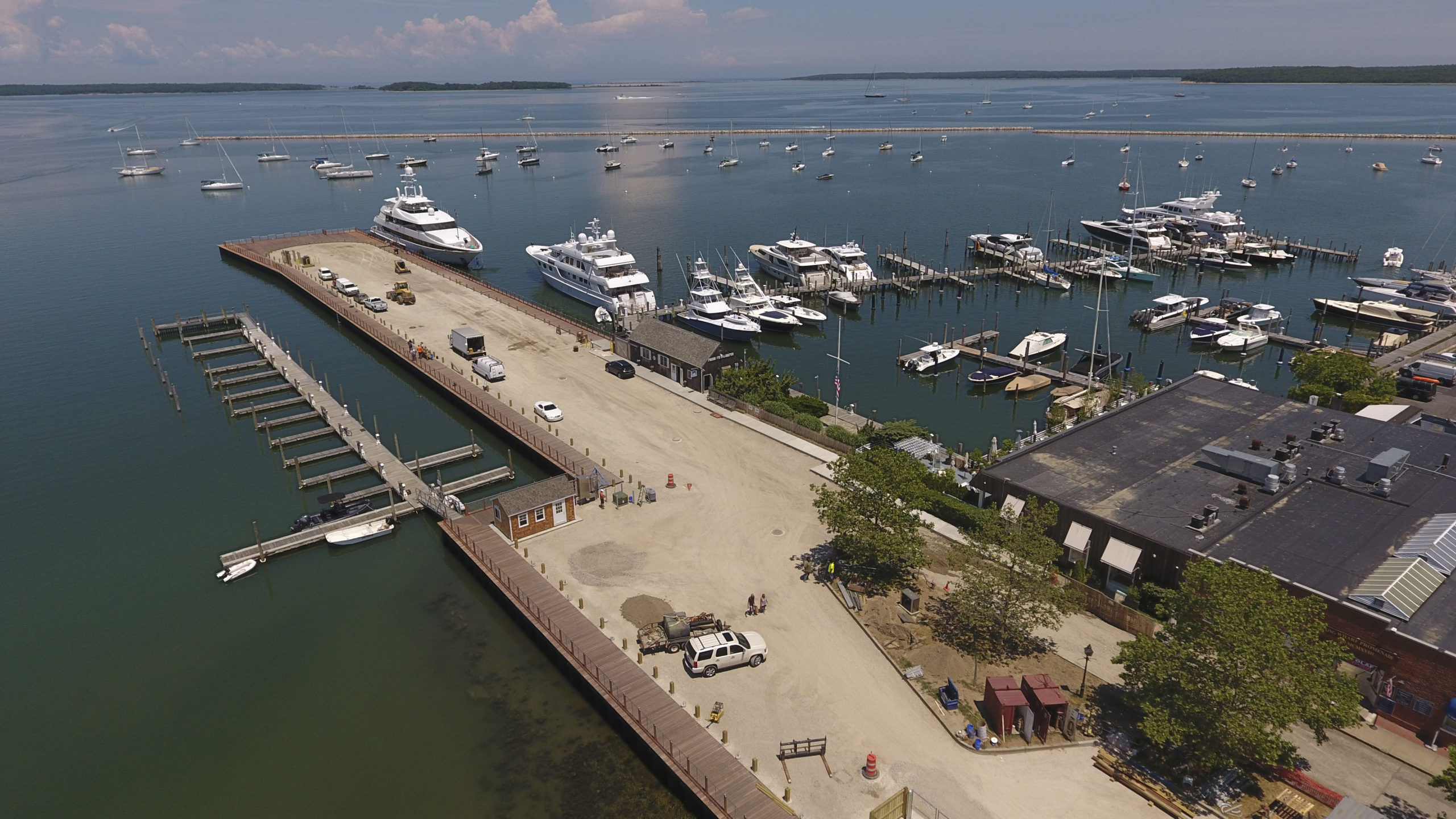 A birdseye view of Long Wharf in Sag Harbor.