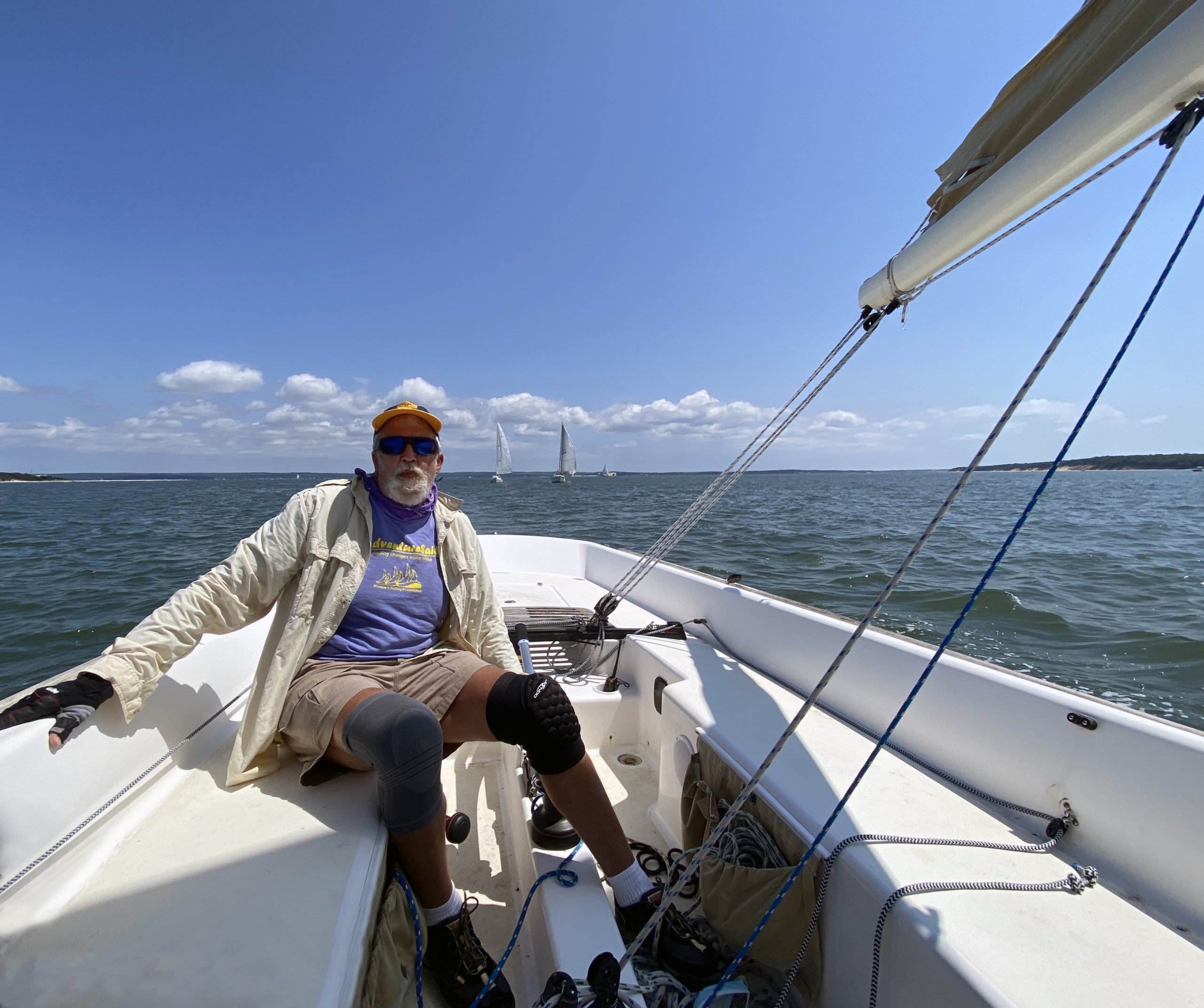 Michael Mella the helm of the Etchells e-33 yacht, Entropy during the Peconic Bay Sailing Association race on Saturday hosted by the New Suffolk Old Cove Yacht Club.         BILL EDWARDS