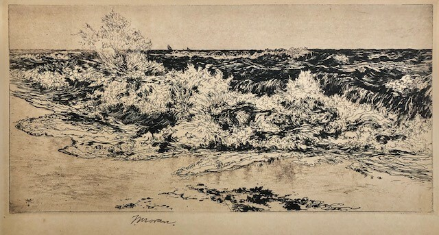 """The Sounding Sea"" 1880, Thomas Moran (1837-1926), etching on paper, monogramed in the plate (reprint, limited edition) image 7 5/8"" x 15 ¾"""