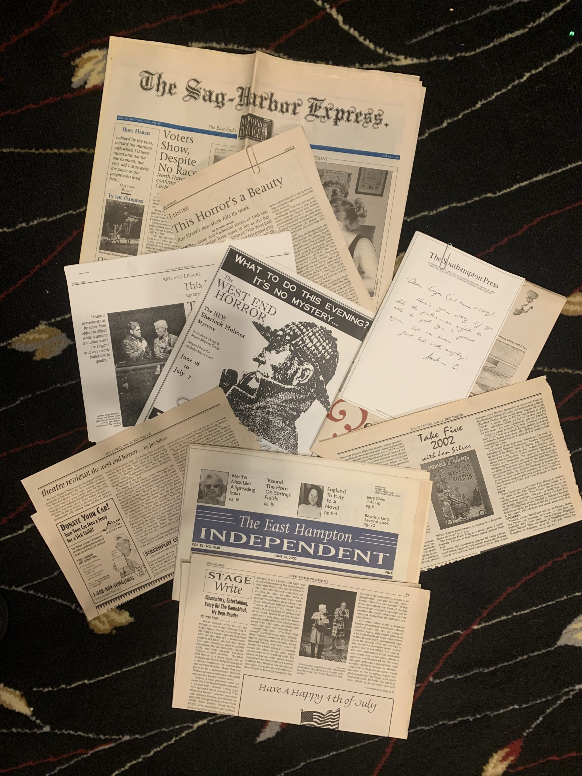 Some of Marcia Milgrom Dodge's boxes and ephemera from the productions she directed at Bay Street Theater.