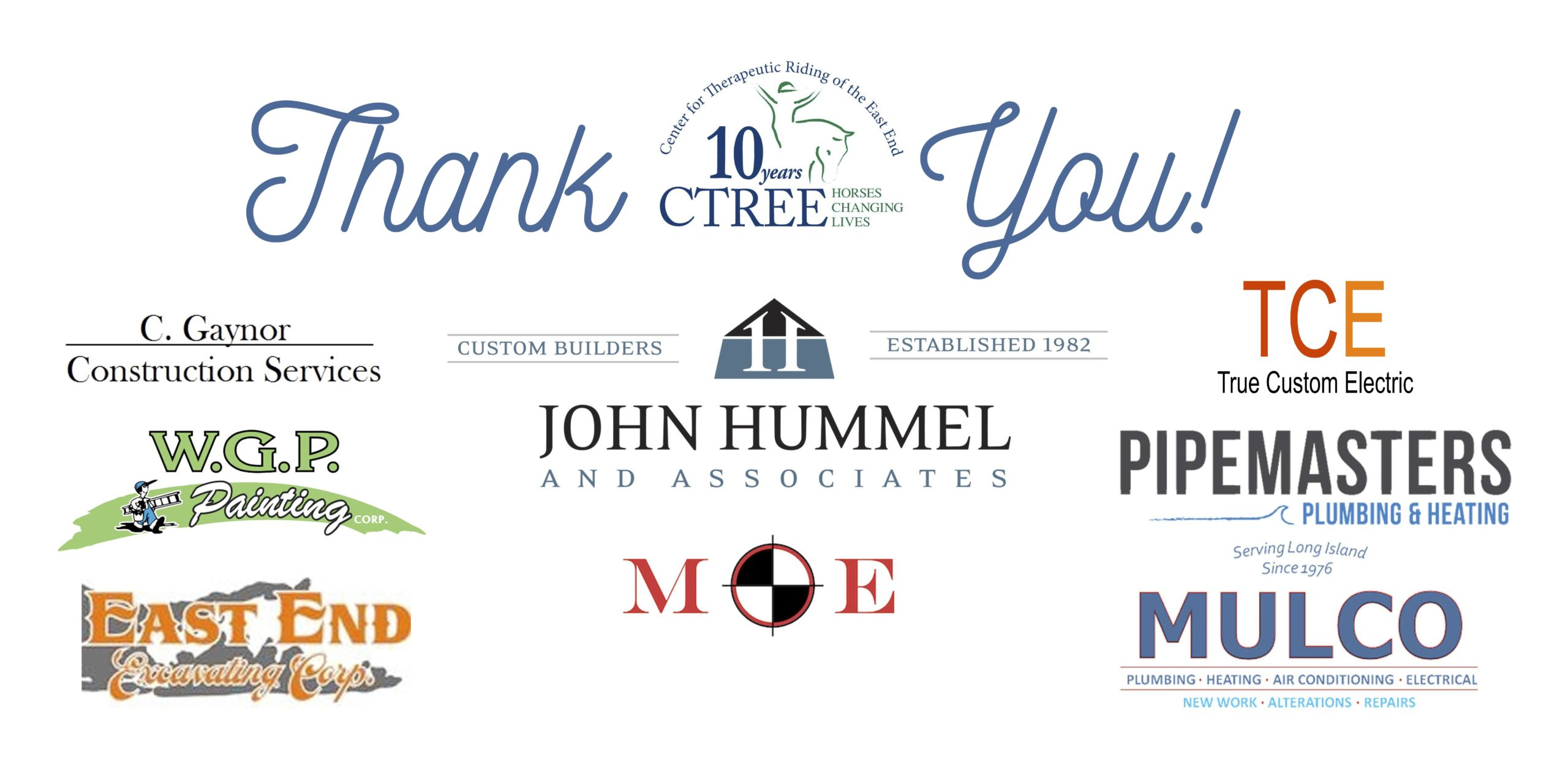 CTREE's thank you banner, honoring their donors.