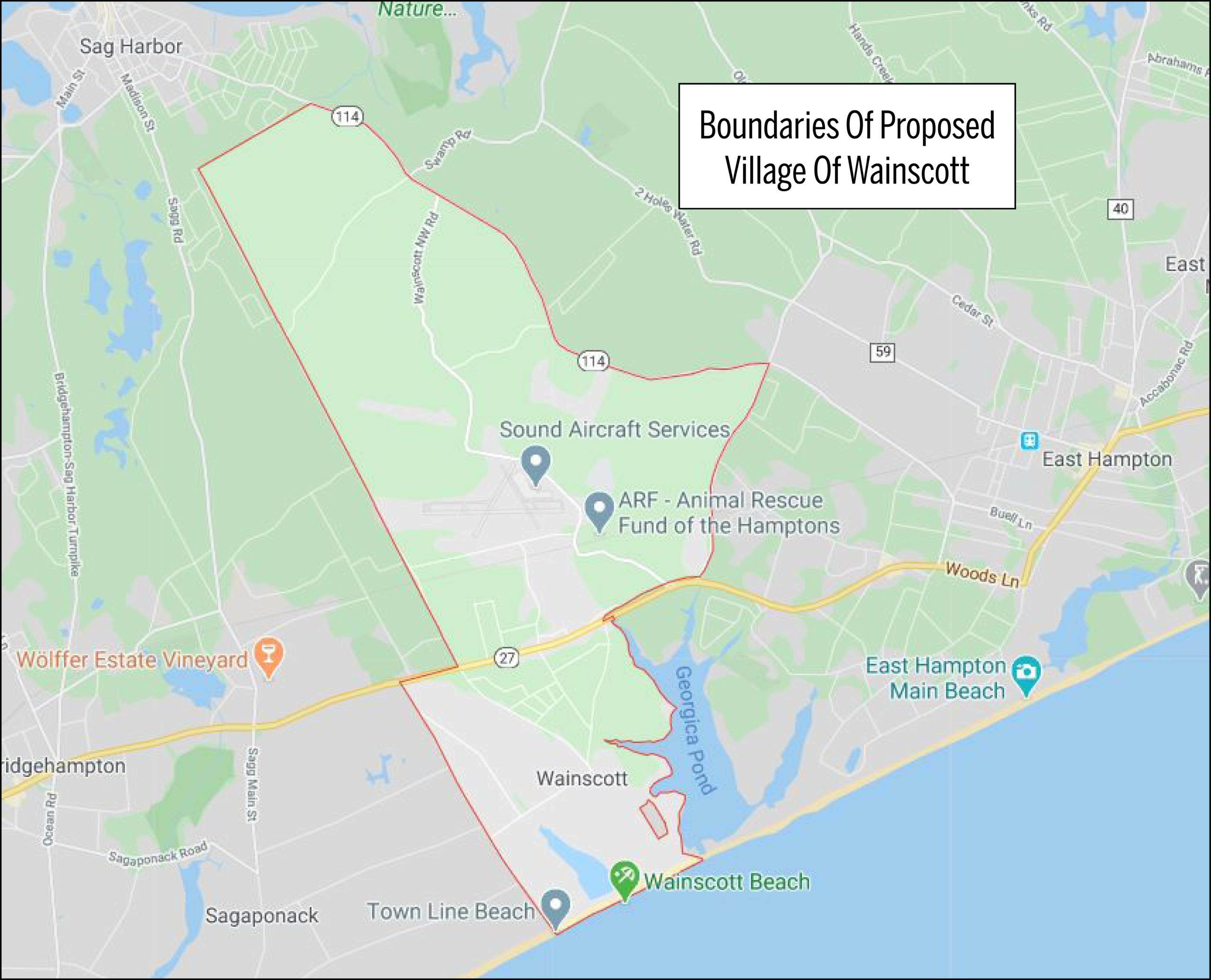 The boundaries of the proposed village follow the outlines of the Wainscott School District. Town Line Road is the western boundary and Route 114 to the north.