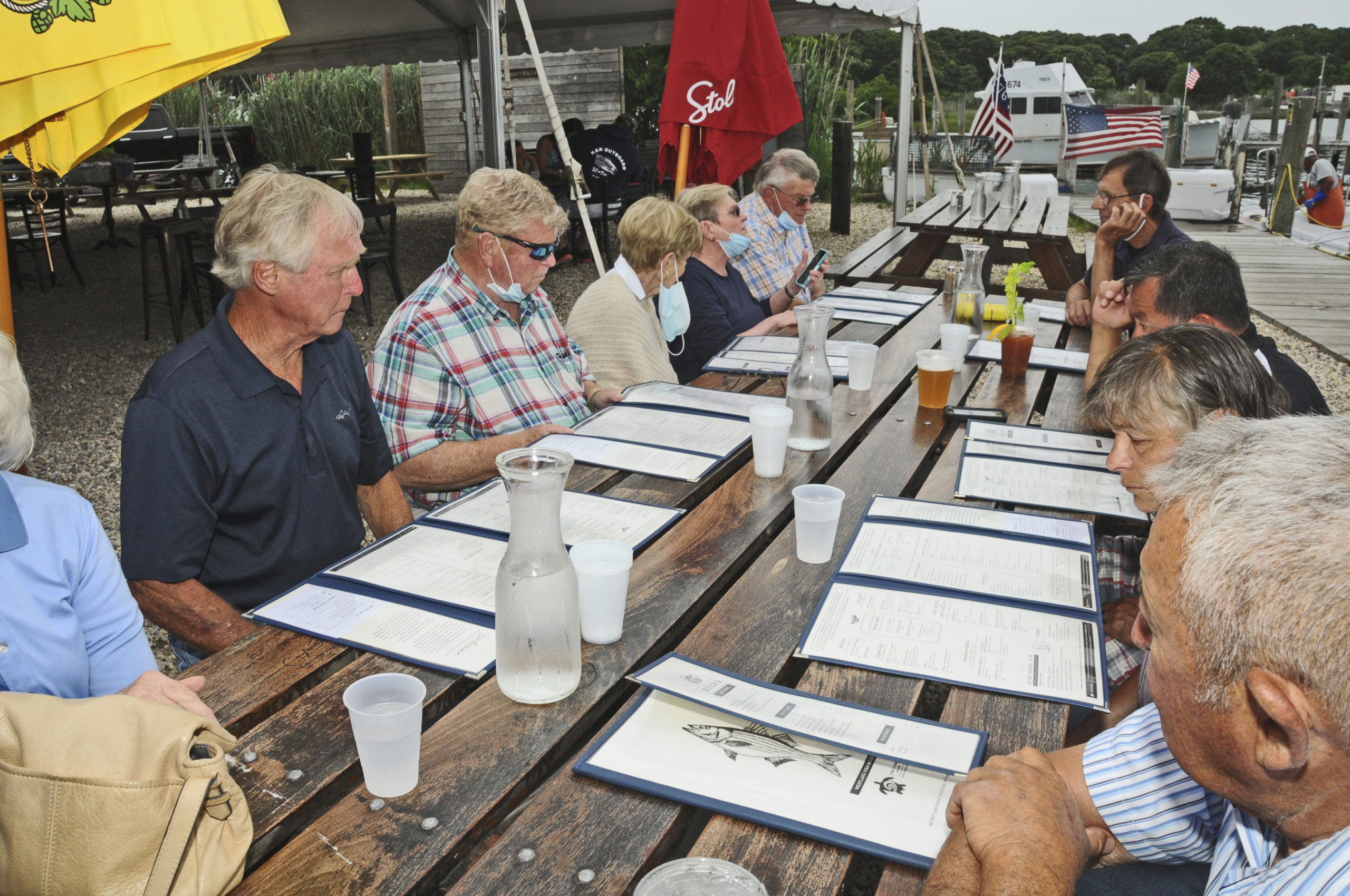 On Tuesday, July 7th, Montauk Fire Department's Fire Police Company No. 6 took a break from their duties for a Family Gathering at Westlake Fish House at the docks in Montauk.     RICHARD LEWIN