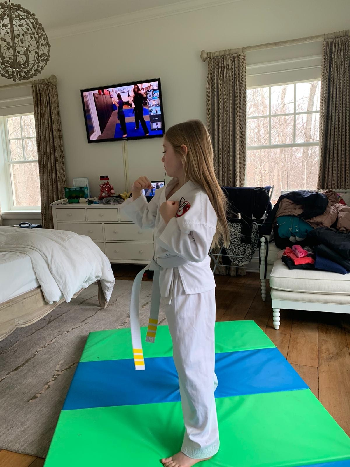 Cameron Dawson participates in a Zoom martial arts class from her home in Amagansett.