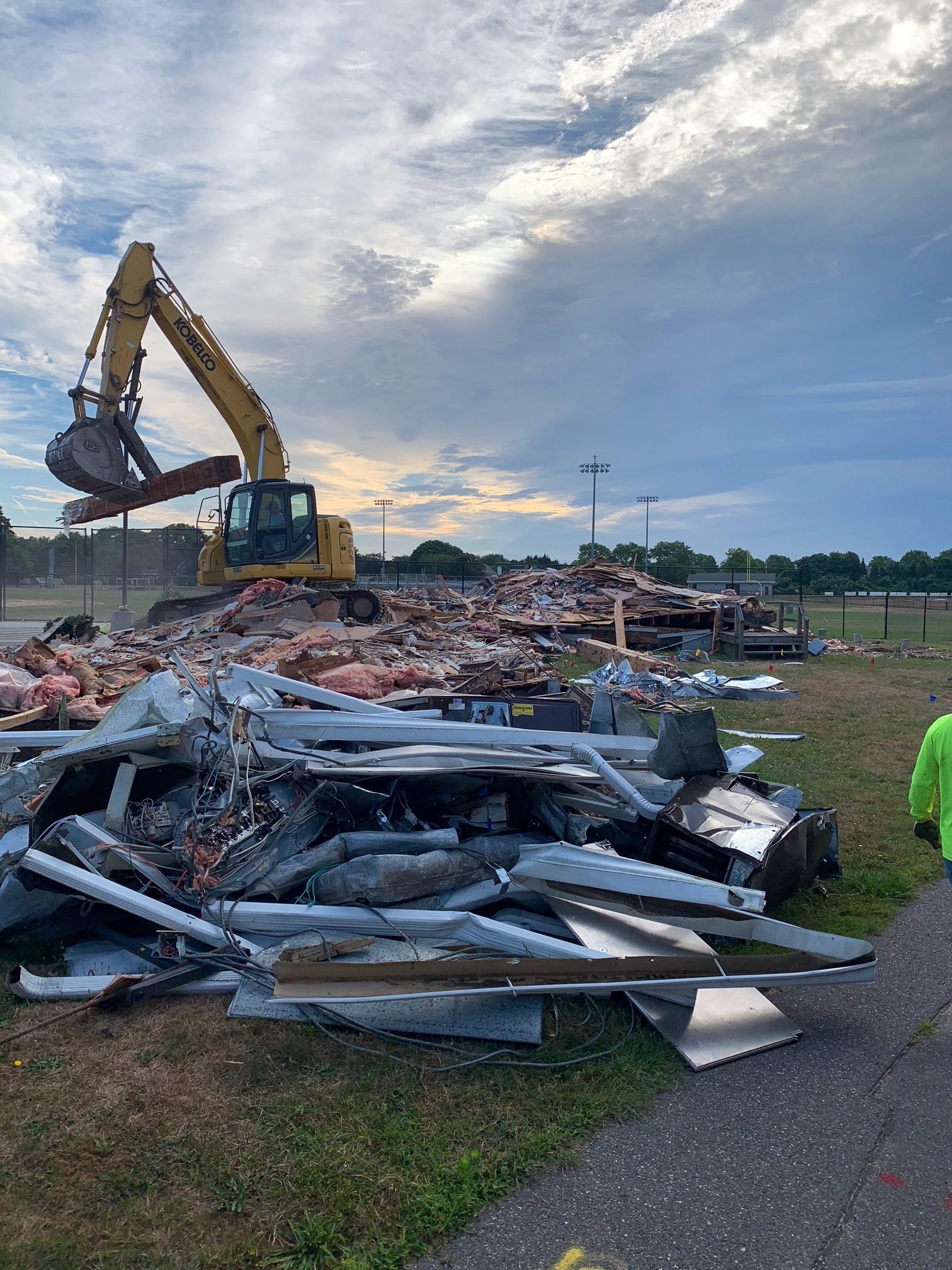 The old Southampton School district office was demolished Tuesday. MARCUS DASILVA