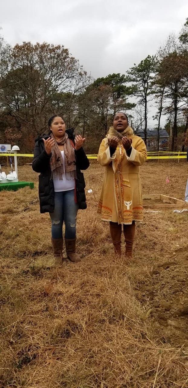 Autumn Rose Williams and Chenae Bullock at the groundbreaking.    COURTESY SHINNECOCK NATION