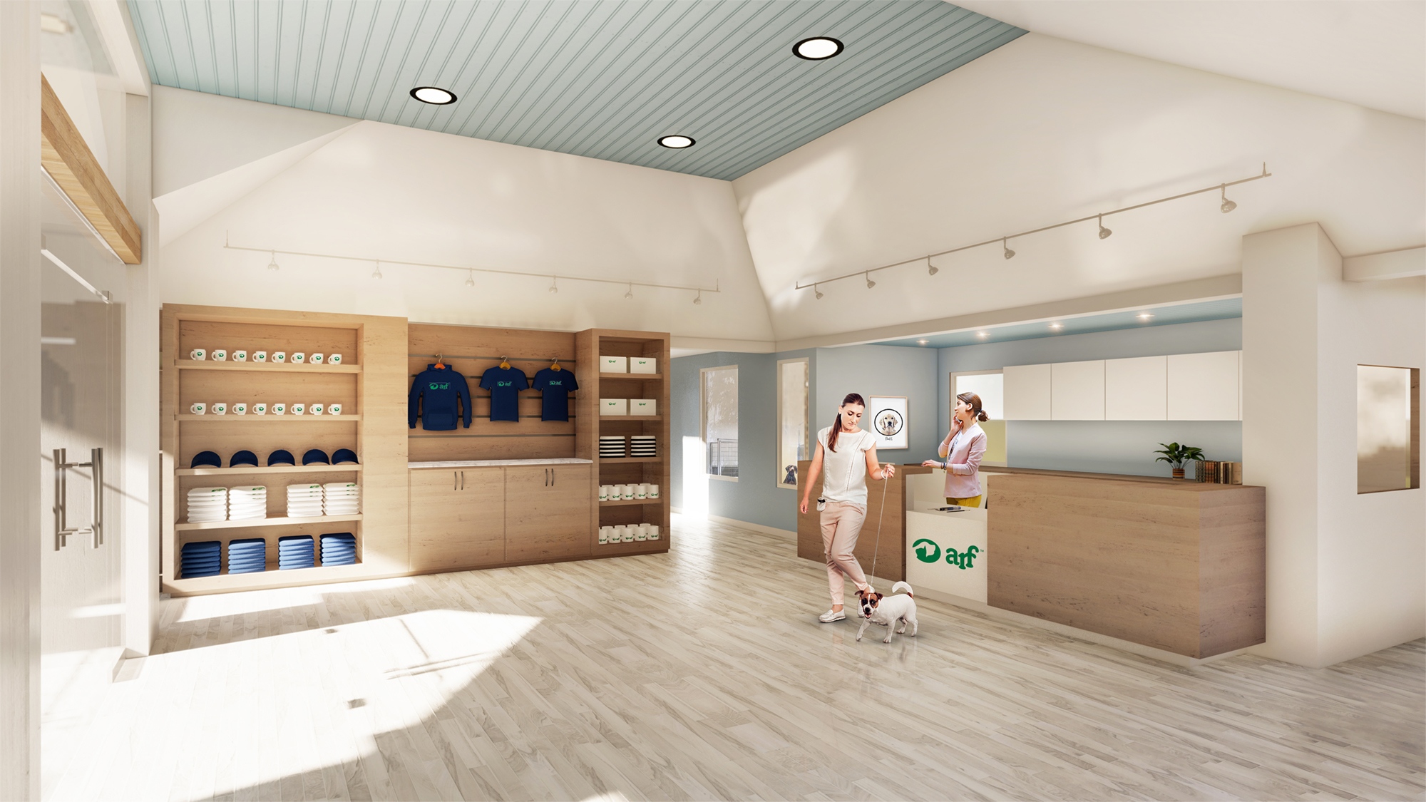 A rendering of the planned Richard Wells McCabe Welcome Center that will be a centerpiece of a major renovation plan at the Animal Rescue Fund of the Hamptons. BACON GROUP INC.