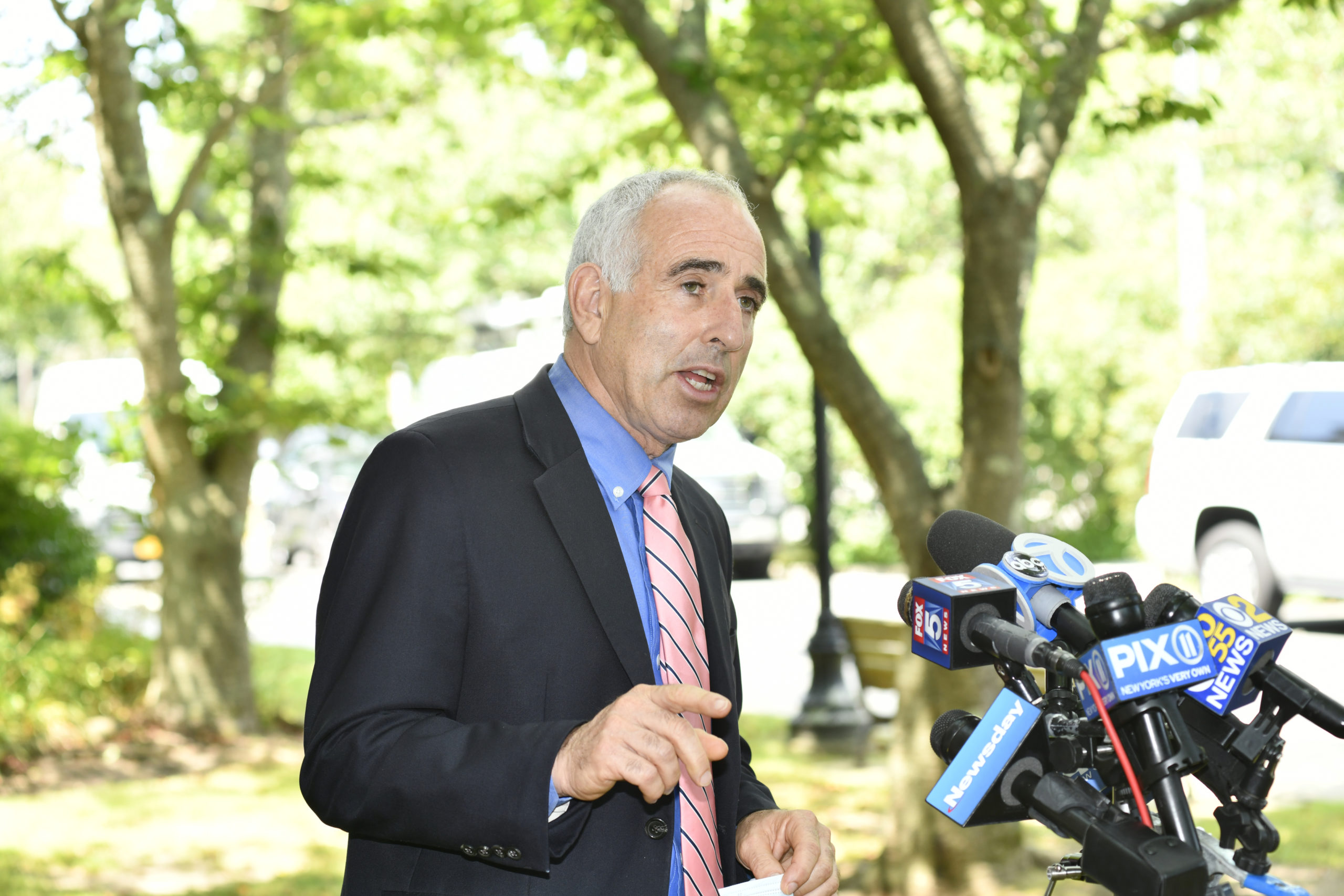 Southampton Town Supervisor Jay Schneiderman at a press conference at town hall on Tuesday, July 28.  DANA SHAW