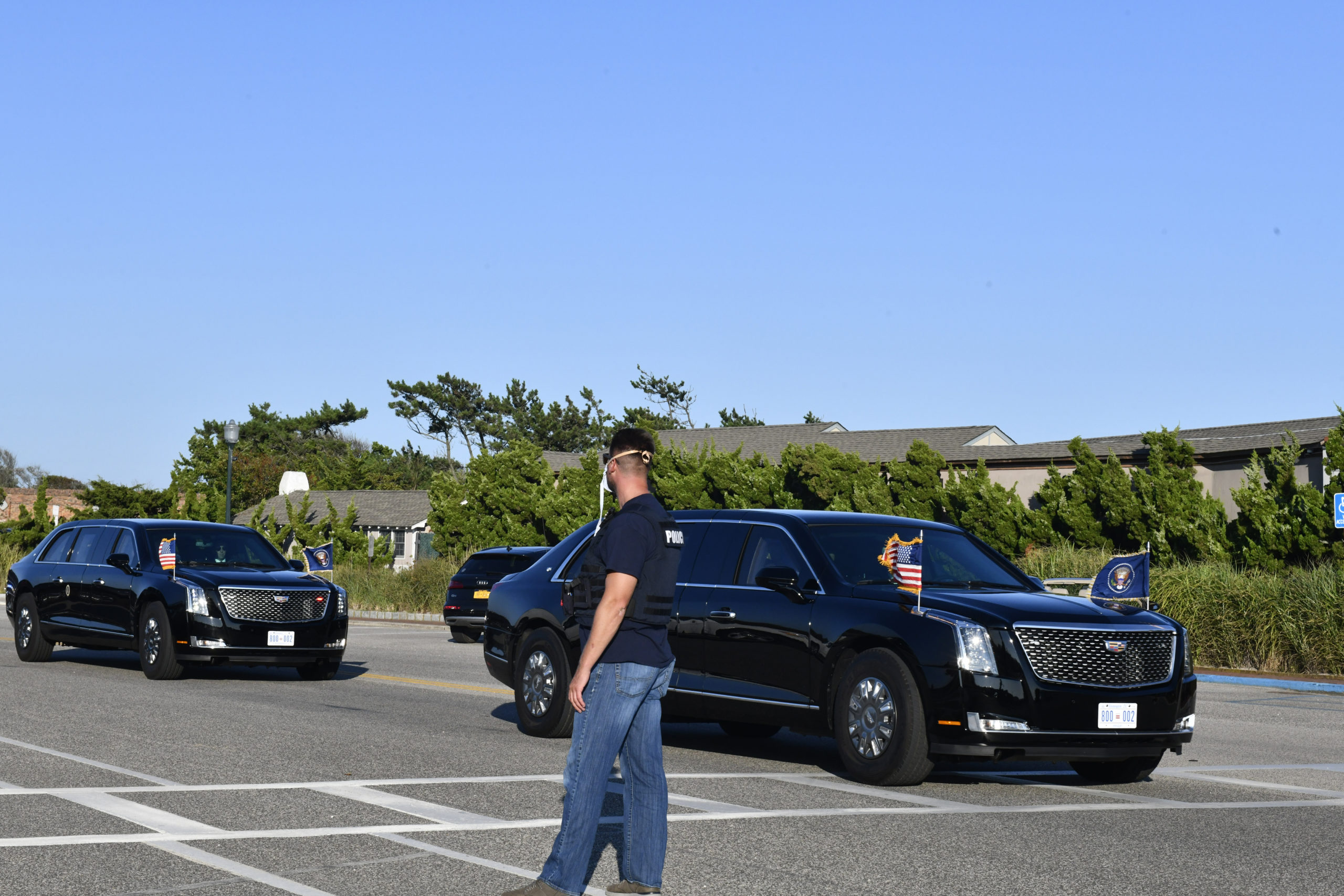 President Donald Trump's motorcade on the way to a fundraising event in Southampton Village on Saturday afternoon.  DANA SHAW