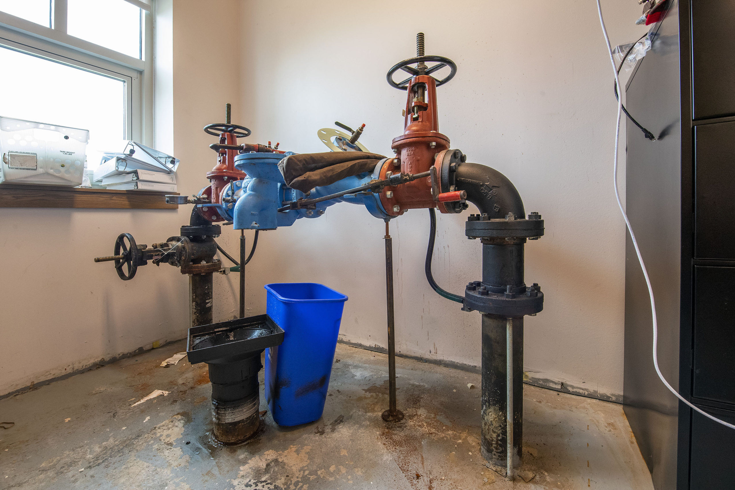 The source of the leak that flooded the East Hampton School District's administrative offices over the weekend was this 8-inch water pipe. MICHAEL HELLER