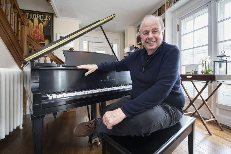 Roger Rosenblatt at his piano in Quogue in April, 2019.