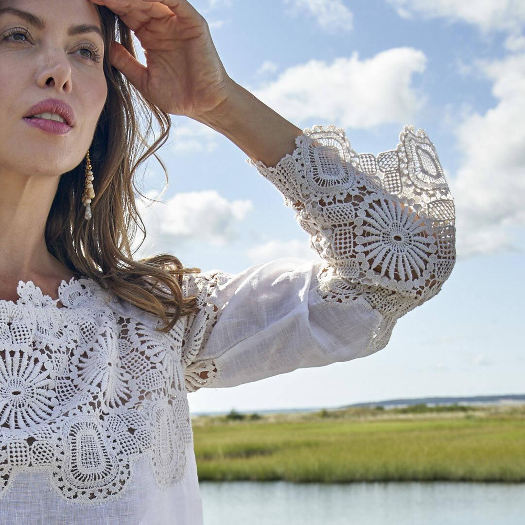 Venice lace adorns a summer top.