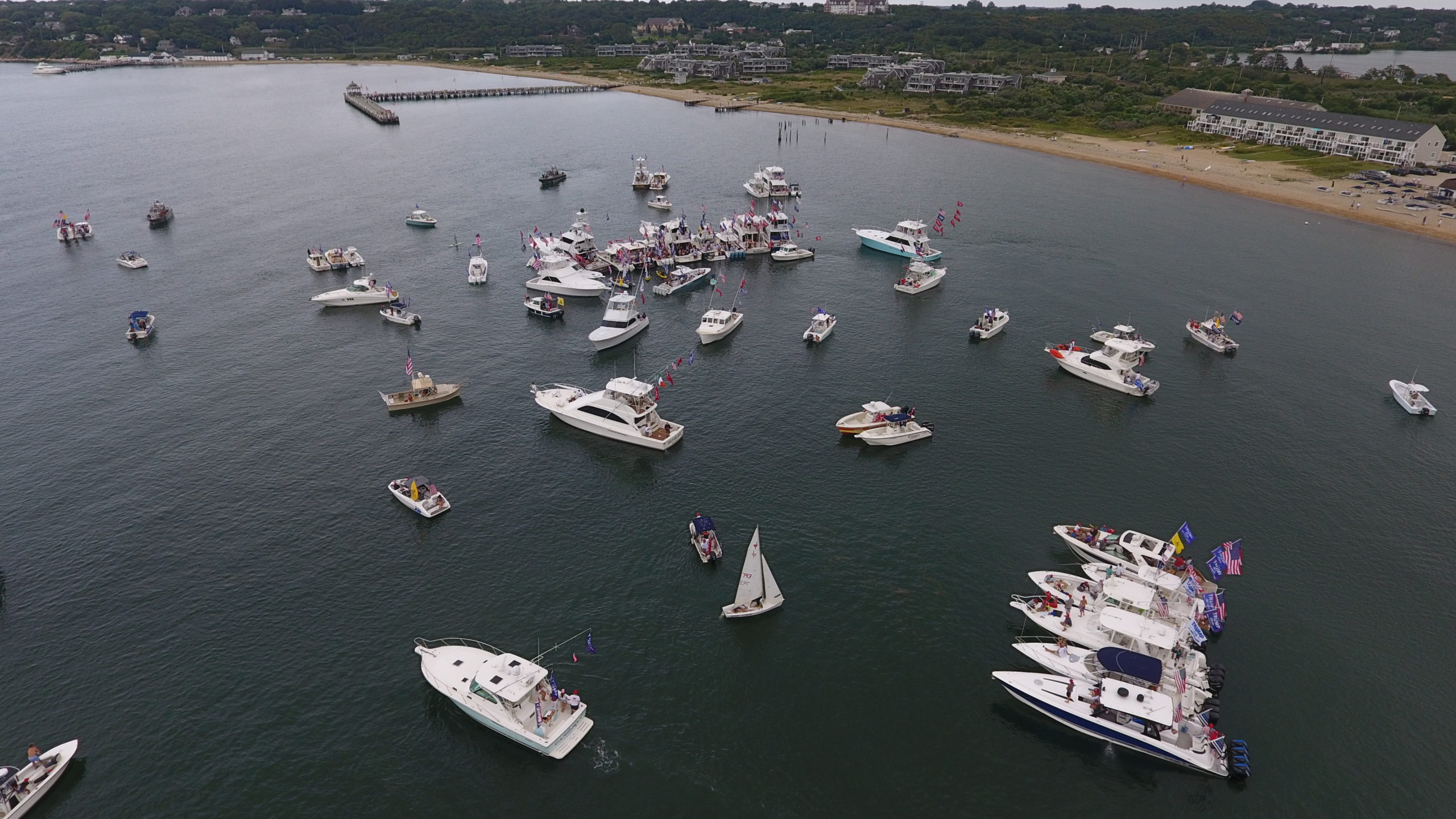 The flotilla anchored up in Fort Pond Bay.