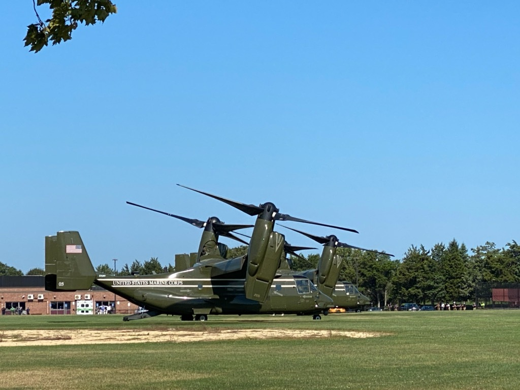 The two V-22 Osprey vertical take off and landing airplanes landed at the Southampton High School athletic fields on Wednesday afternoon, as part of an apparent practice run for the president's arrival on Saturday.