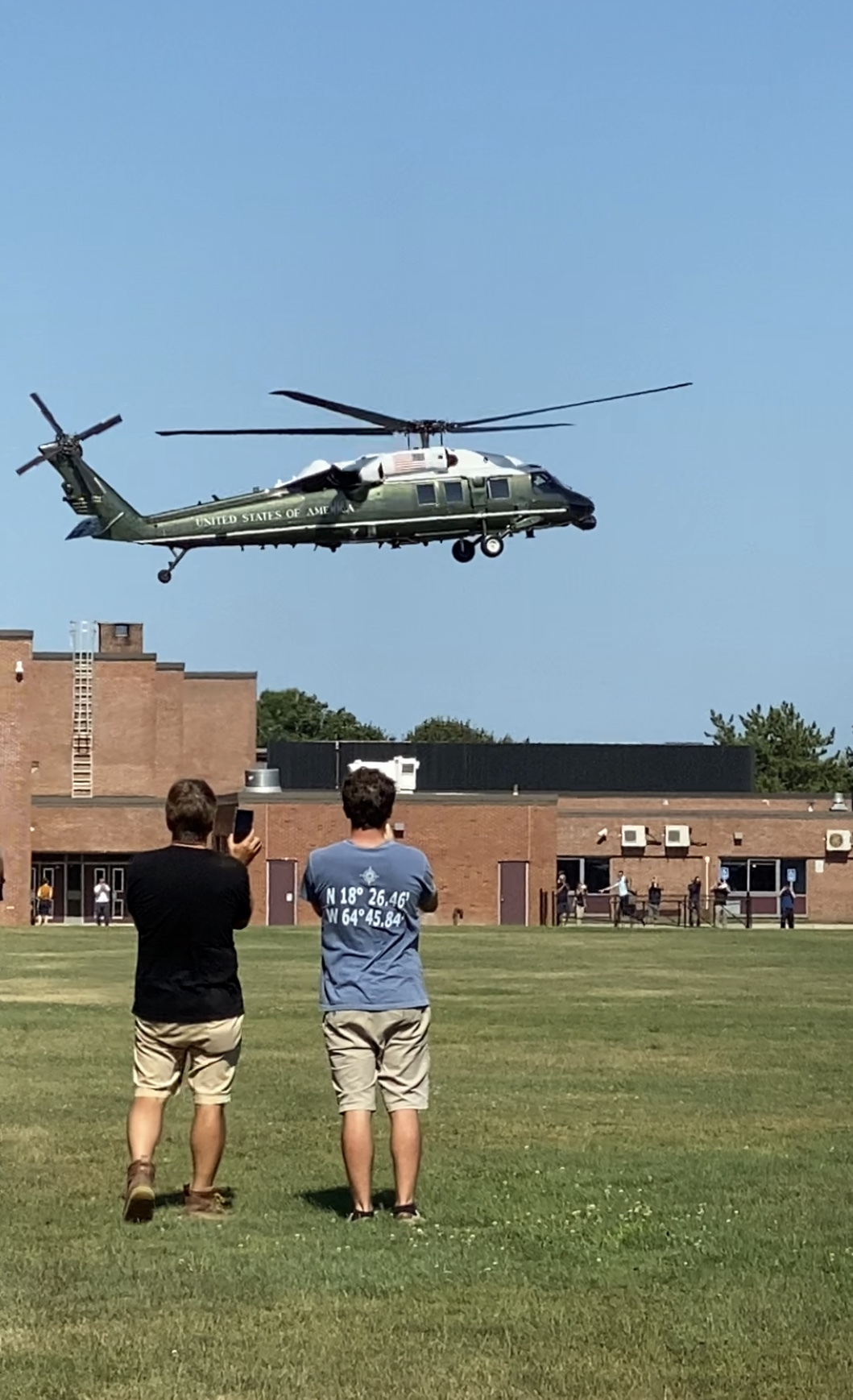 The helicopter that is known as Marine One when the president is aboard, lands at Southampton High School on Wednesday afternoon.