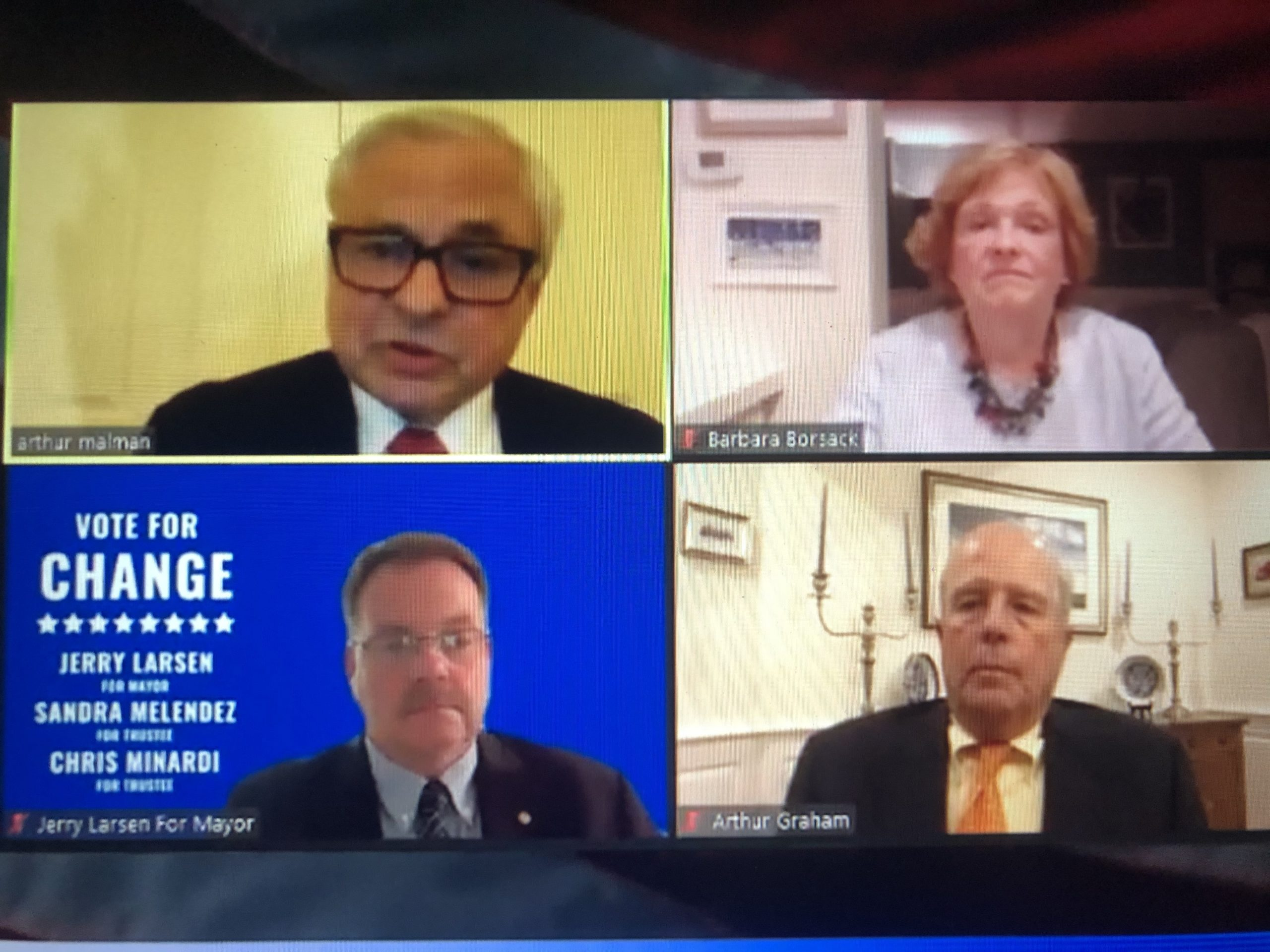 The three candidates for East Hampton Village mayor - Jerry Larsen, Barbara Borsack and Arthur Graham - held a virtual debate with the East Hampton Group for Good Government's host, Arthur Malman.