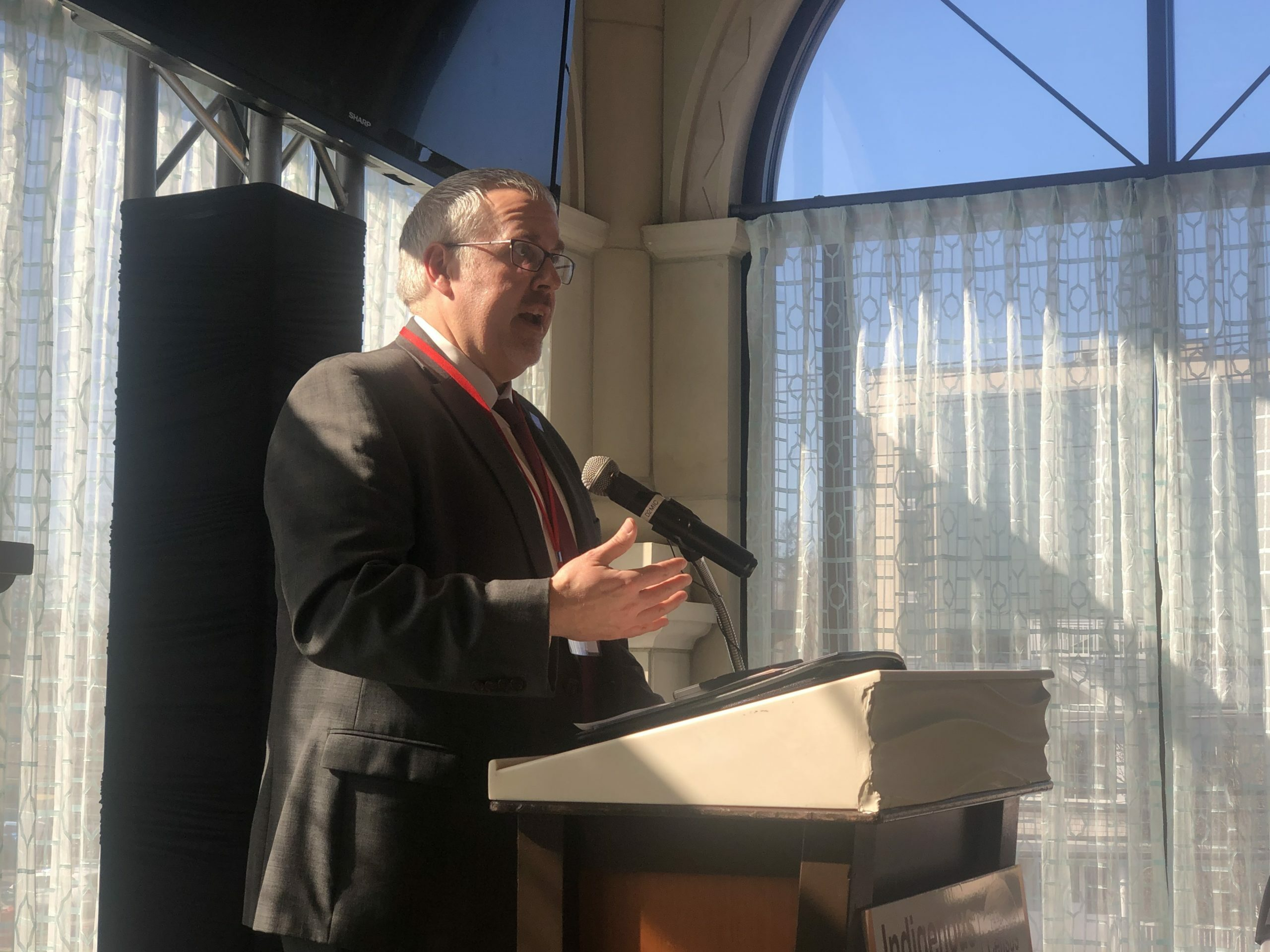 U.S. Census Bureau Regional Director Jeff Behler at a forum for preparing Native American tribes to rally their communities to fill out the census in February.