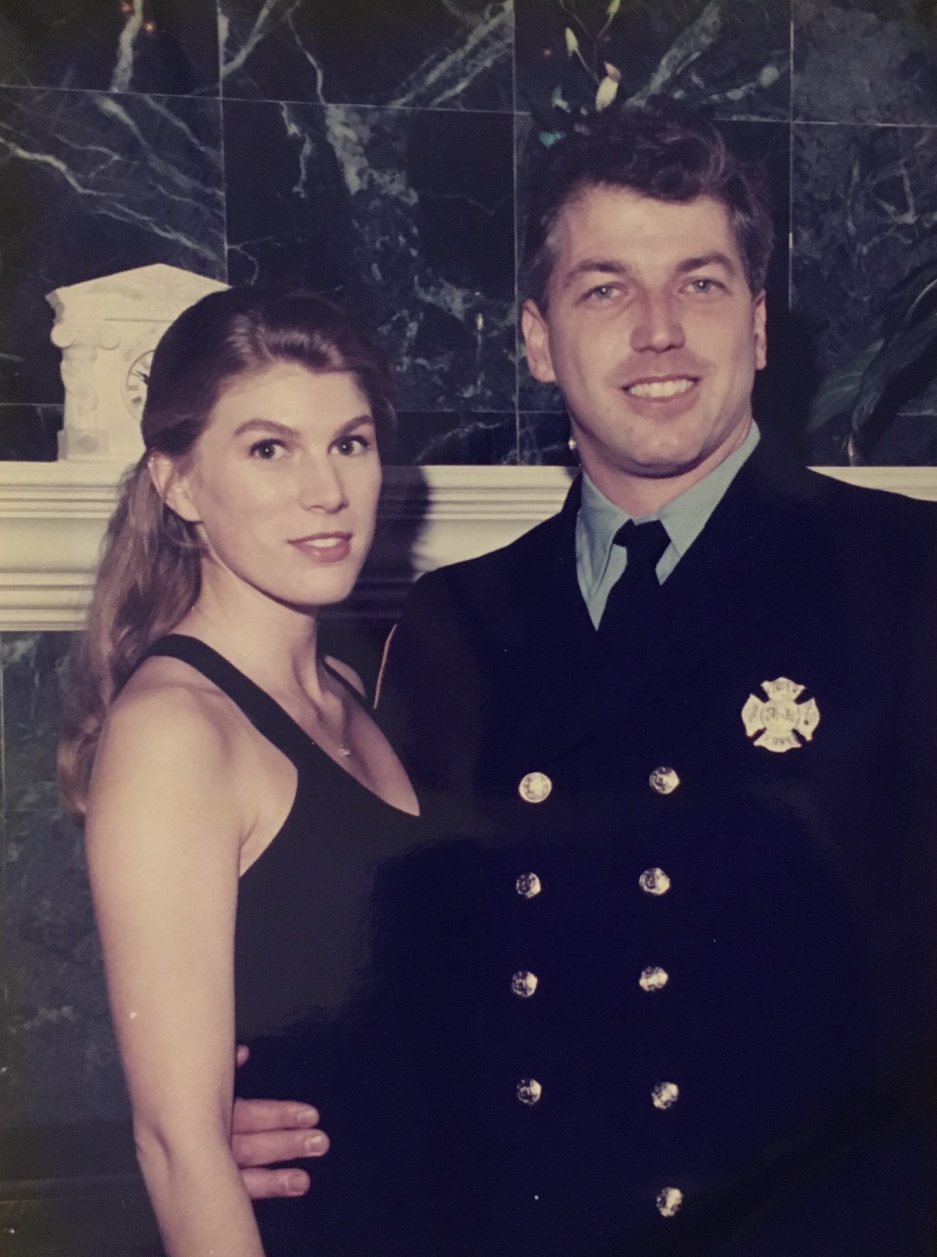 LJ Heming and Katie Miller at the 1997 Fireman's Inspection Dinner for Coram Fire Department. Heming moved to the Coram Fire Department in 1997.