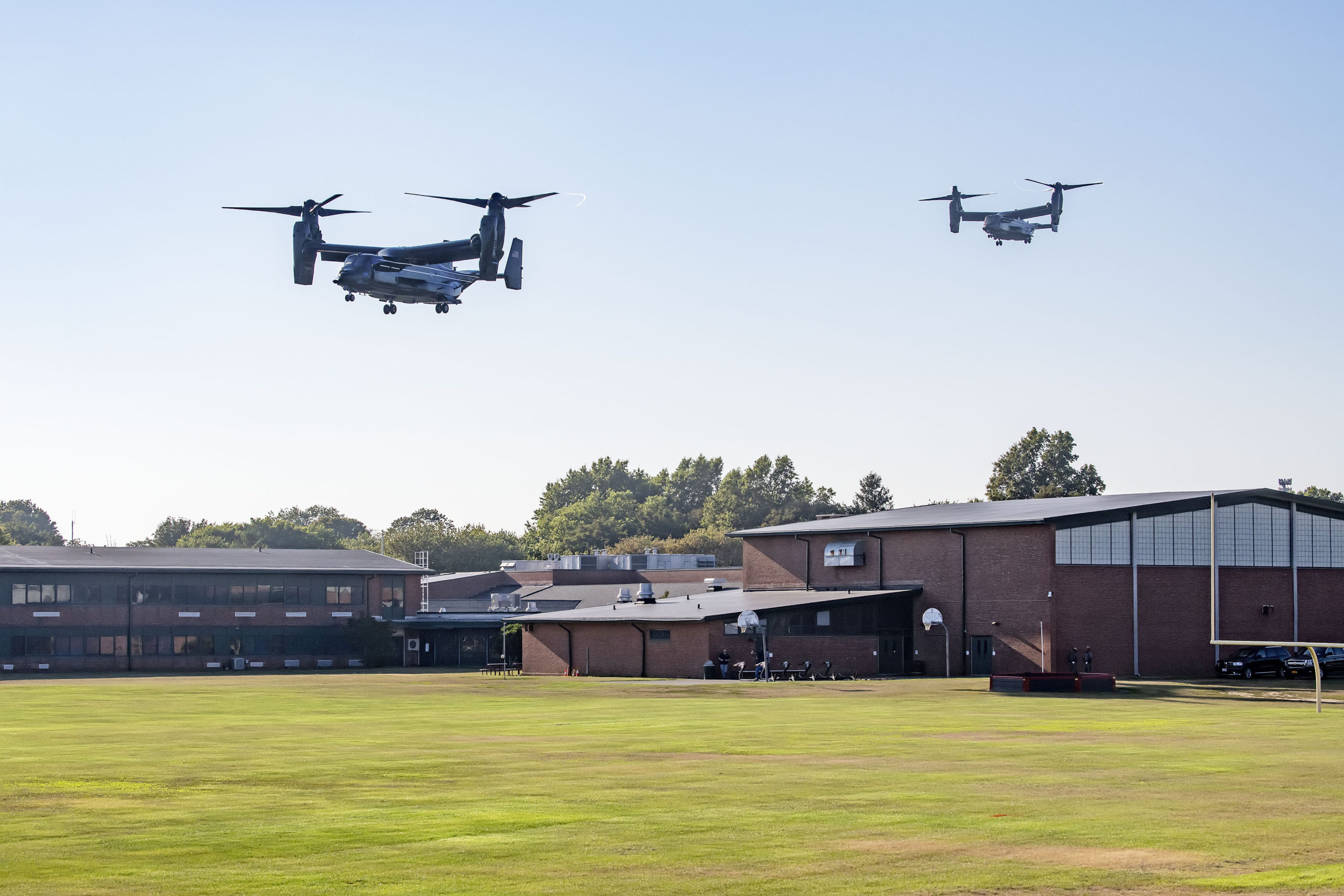 The V-22 Osprey aircraft were the first to arrive at Southampton High School on Saturday.