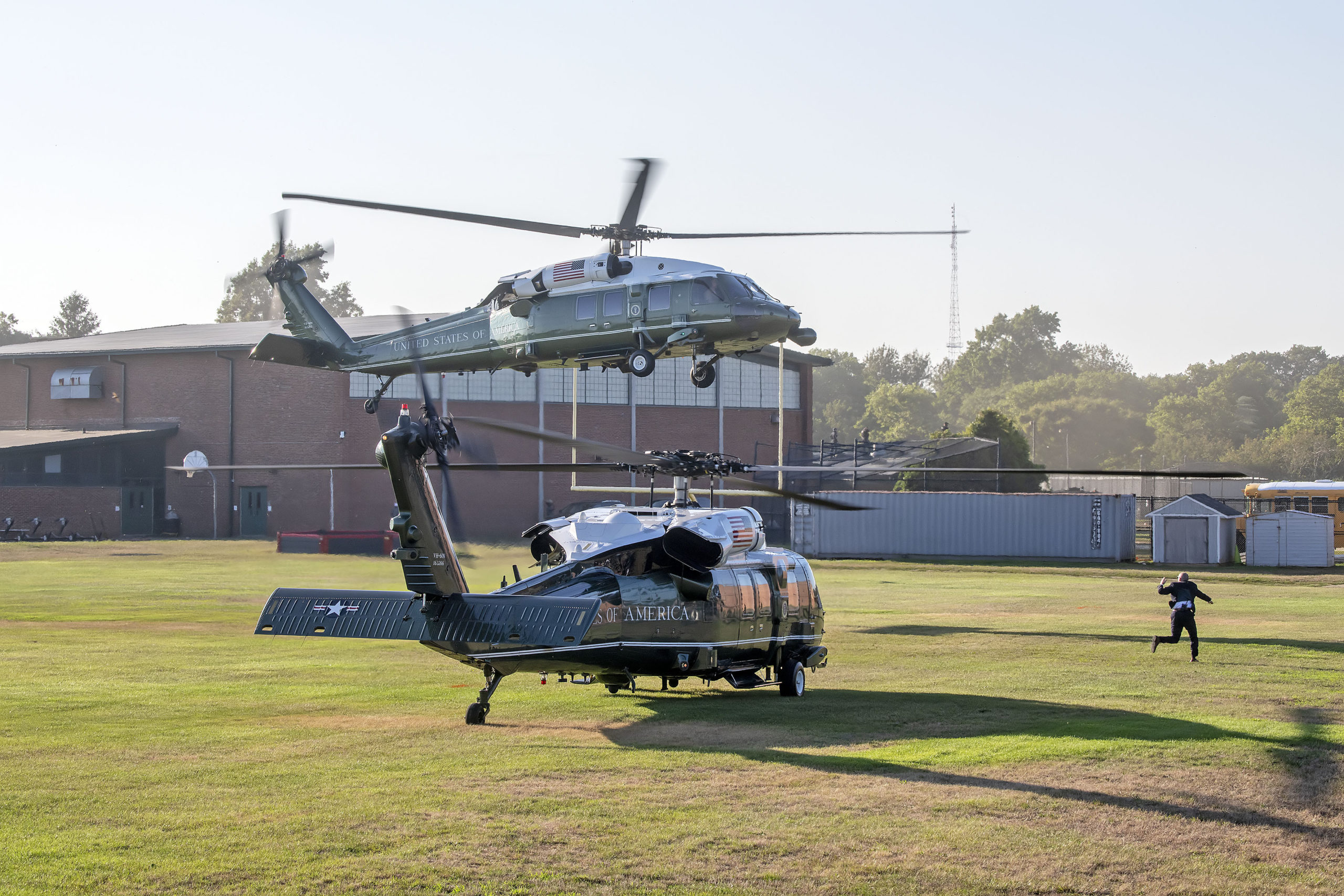 The president's helicopter, Marine One, and its escorts landed at Southampton High School on Saturday afternoon under heavy security.