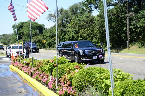 The president's motorcade during a visit to the South Fork in 2018.
