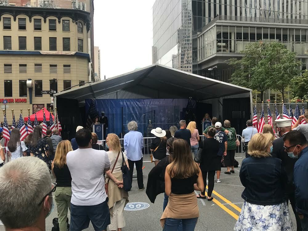 Reading the names of loved ones who perished on September 11, 2001, in Manhattan. COURTESY JAMES BURKE