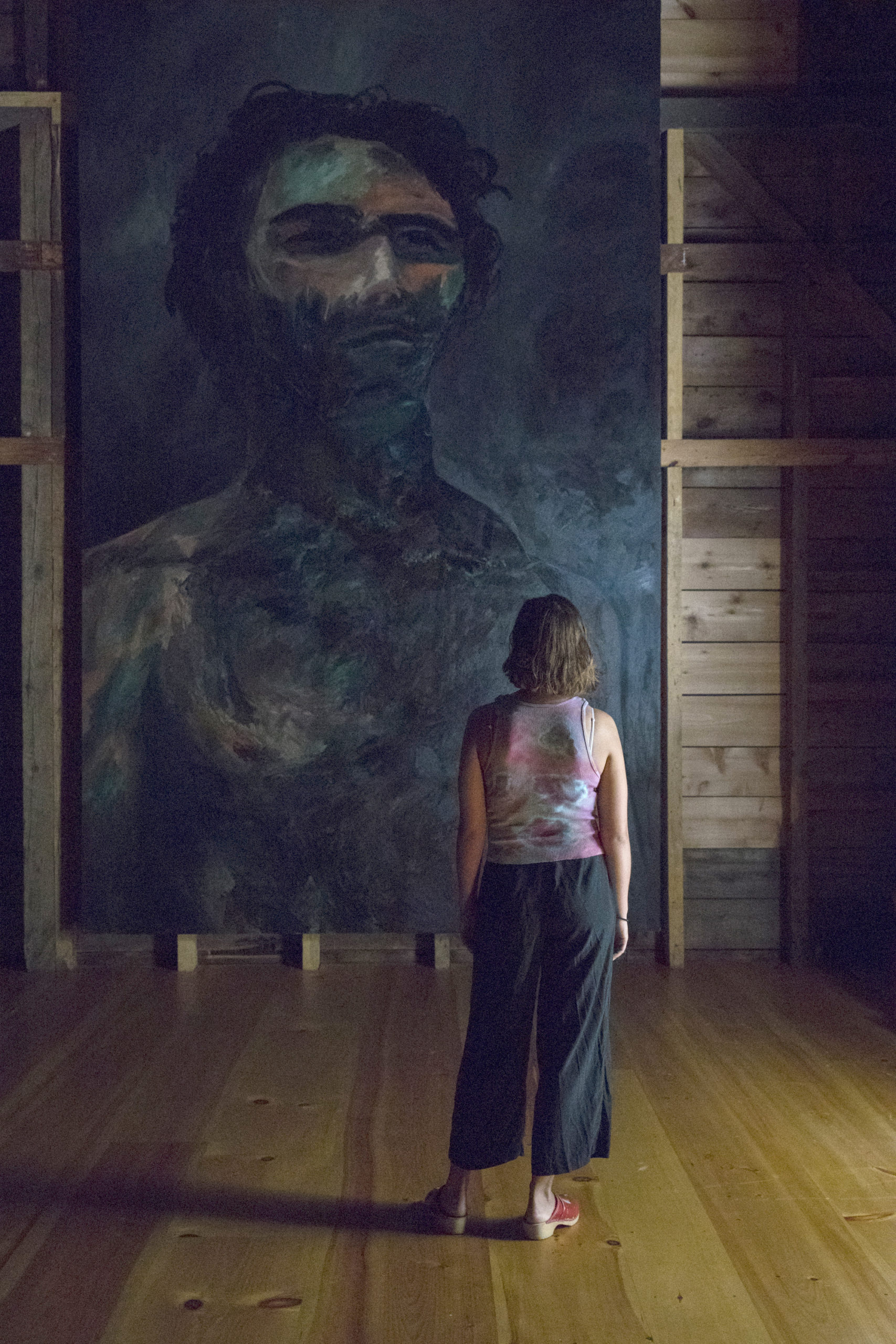 Darius Yektai's exhibition, Darklight, opened to the public on September 5, at The Arts Center at Duck Creek IN sPRINGS. The exhibit includes six large-scale self portrait paintings.             LORI HAWKINS