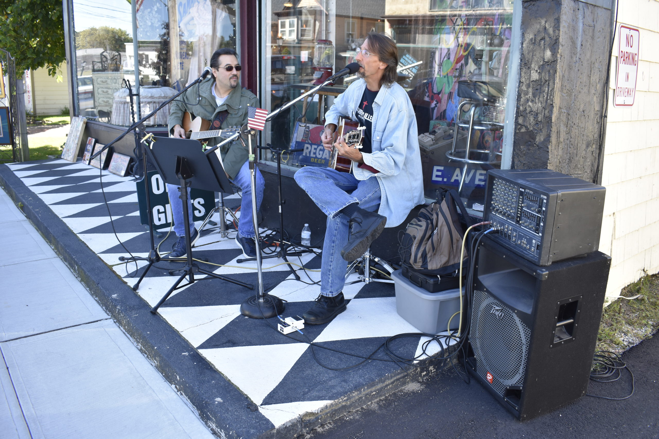 Cliff Affigne and Dennis Conti of Eastport Music Scene provided live tunes in front of Beyond the Beaten Path.
