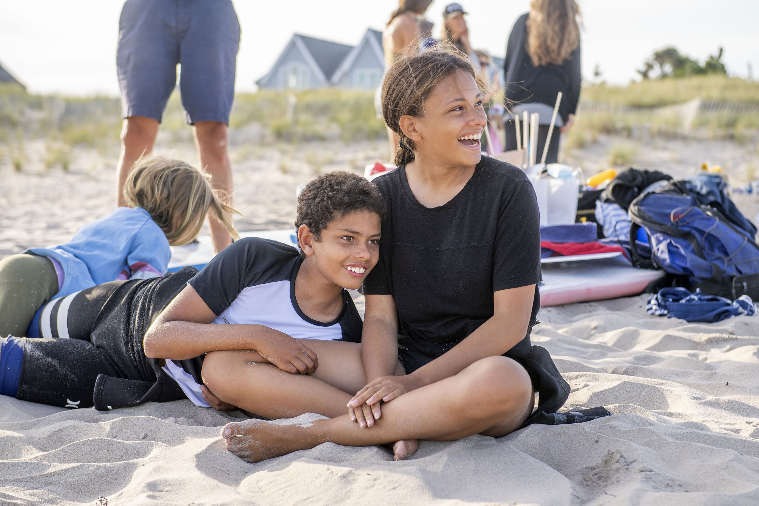 Siblings and event organizers Kilian and Sophia Cosmina Ruckriegel prior to the start of the Paddle Out in Solidarity event in support of the Black Lives Matter movement on the beach at the end of Napeague Lane in Amagansett on Wednesday, August 26.  MICHAEL HELLER