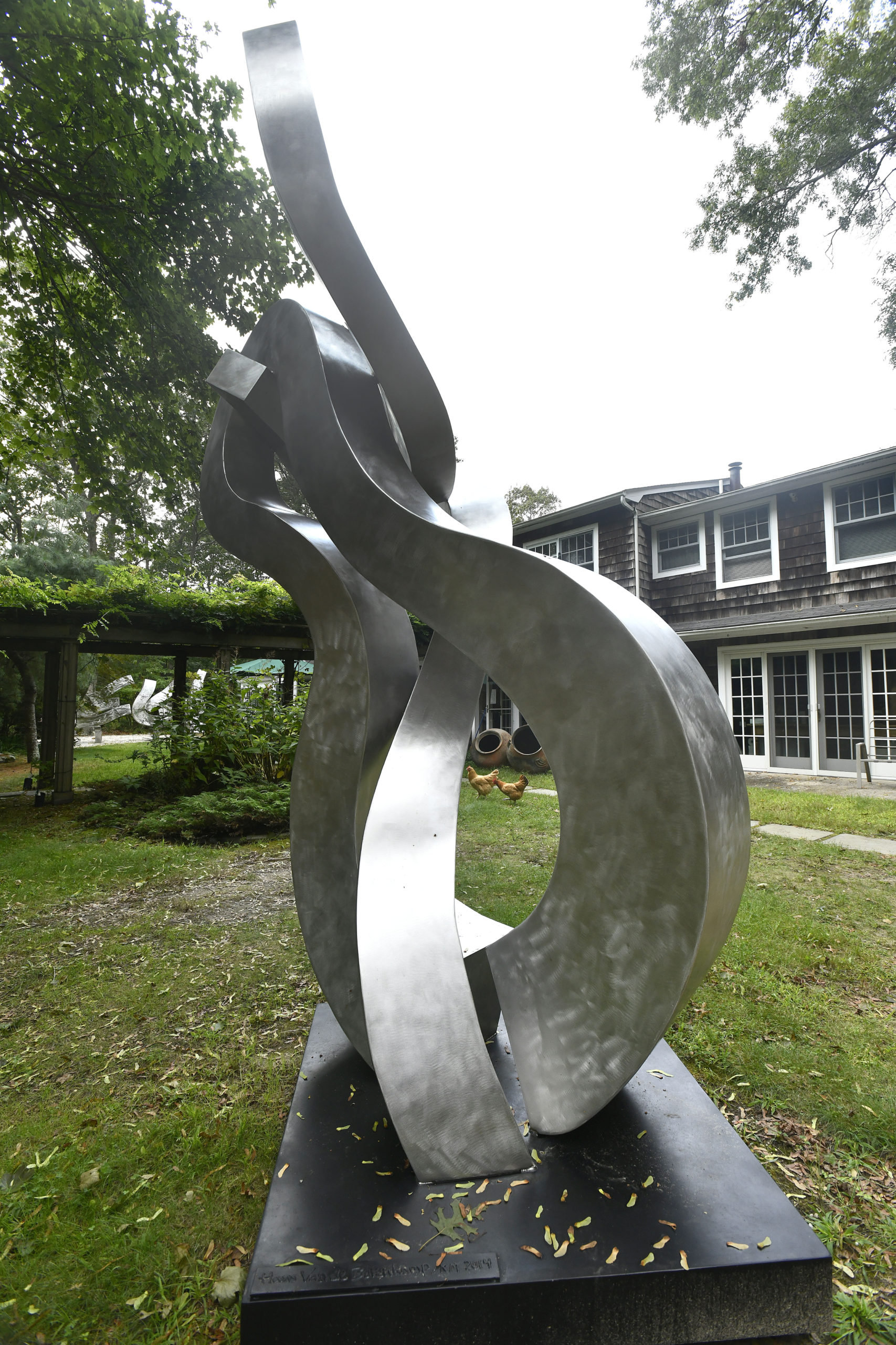 Works by Hans Van de Bovenkamp dot his Sagaponack property.   DANA SHAW