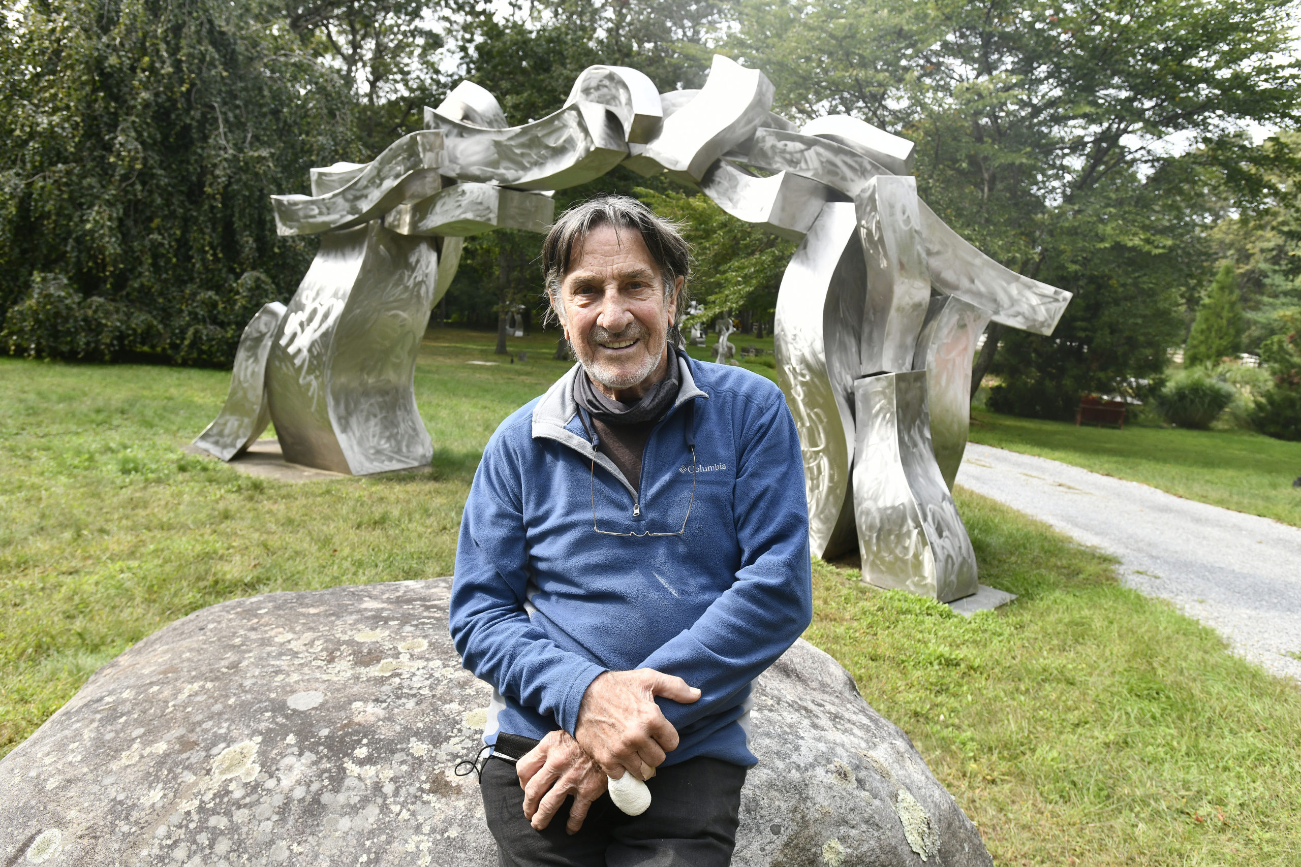 Hans Van de Bovenkamp on the grounds of his home in Sagaponack.   DANA SHAW