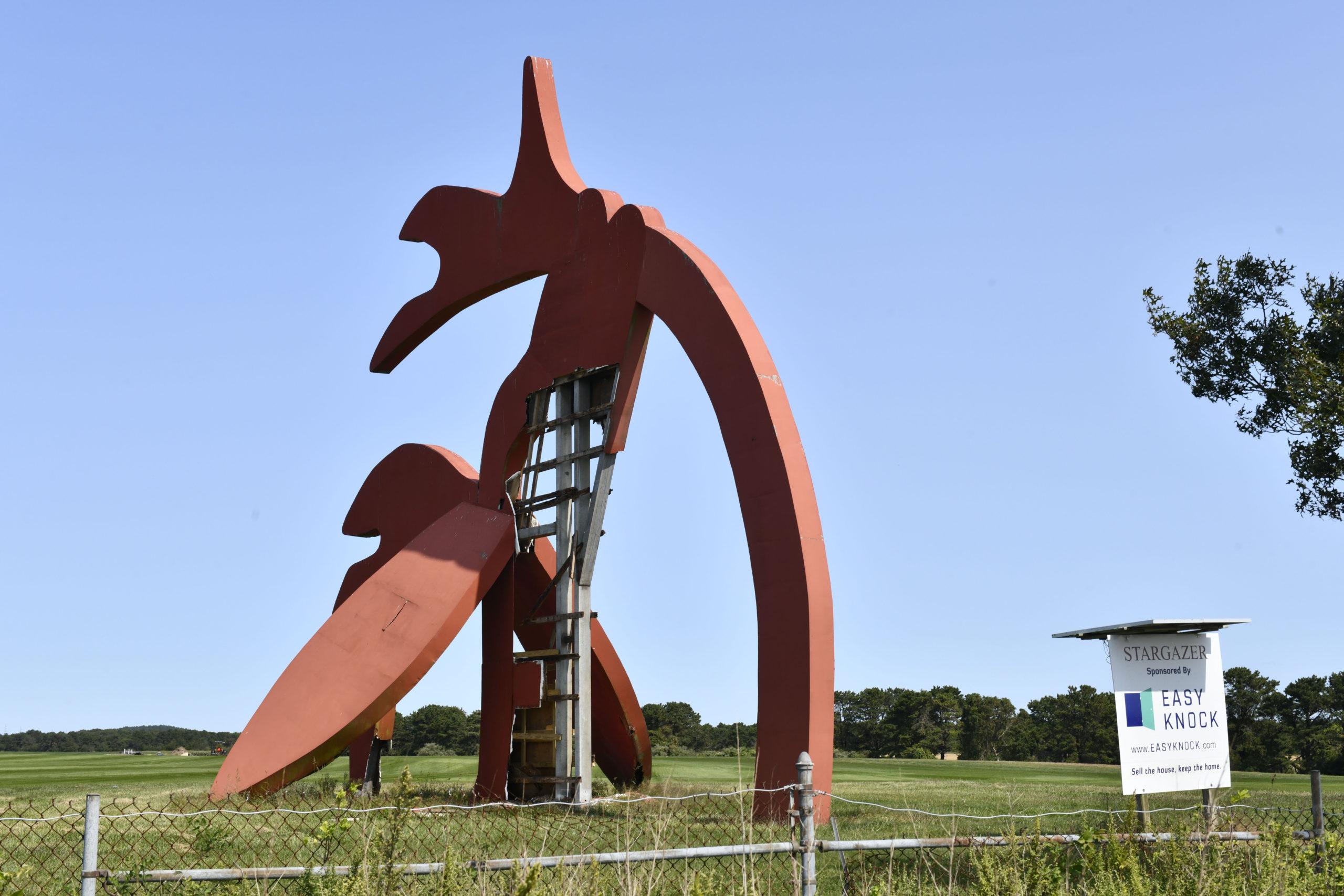 The Stargazer sculpture in Manorville is badly damaged.   DANA SHAW