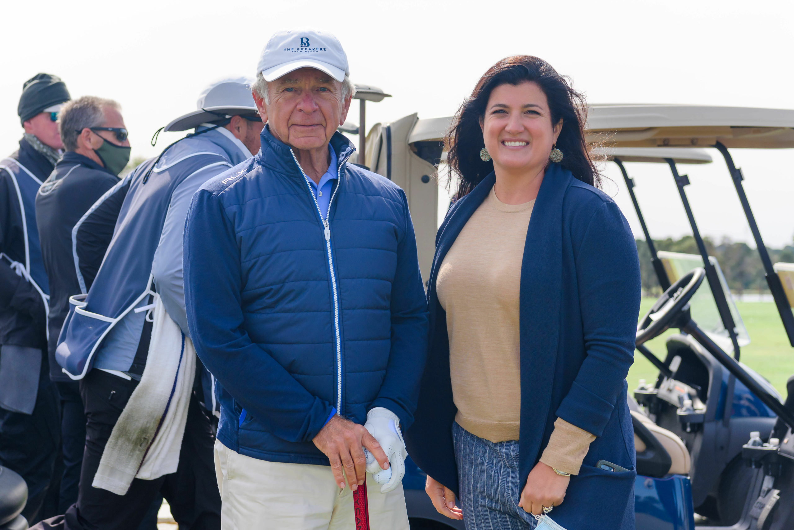 John A. Kanas Sr Presenting Sponsor with Mary Crosby East End Hospice President & CEO at Golf for a Good Cause at the Sebonac Golf Club in Southampton.