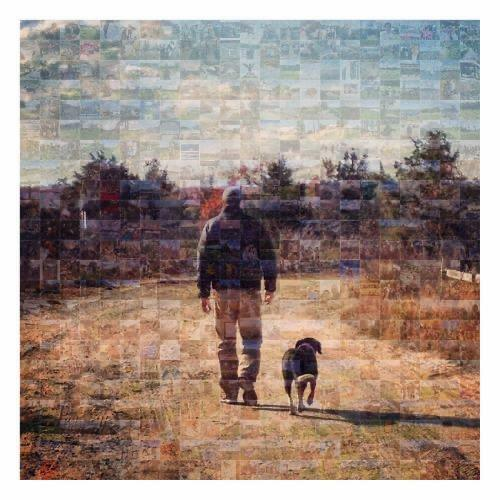 A painting of a man and his dog by Richard Mothes.