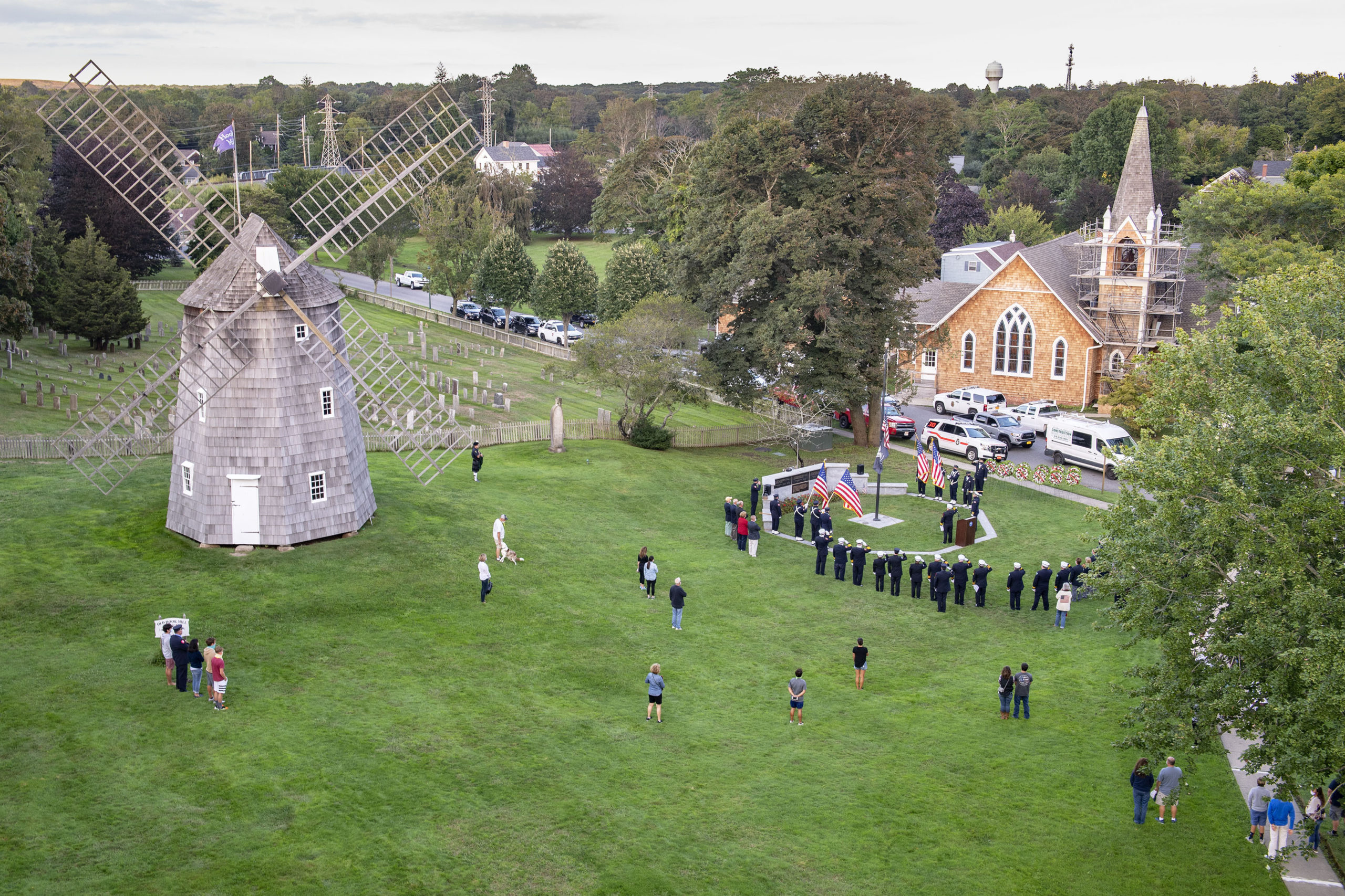 Members of the East End Fire, EMS and Police Departments held a memorial service on the village green in East Hampton commemorating the 19th anniversary of the September 11, 2001 terrorist attacks.