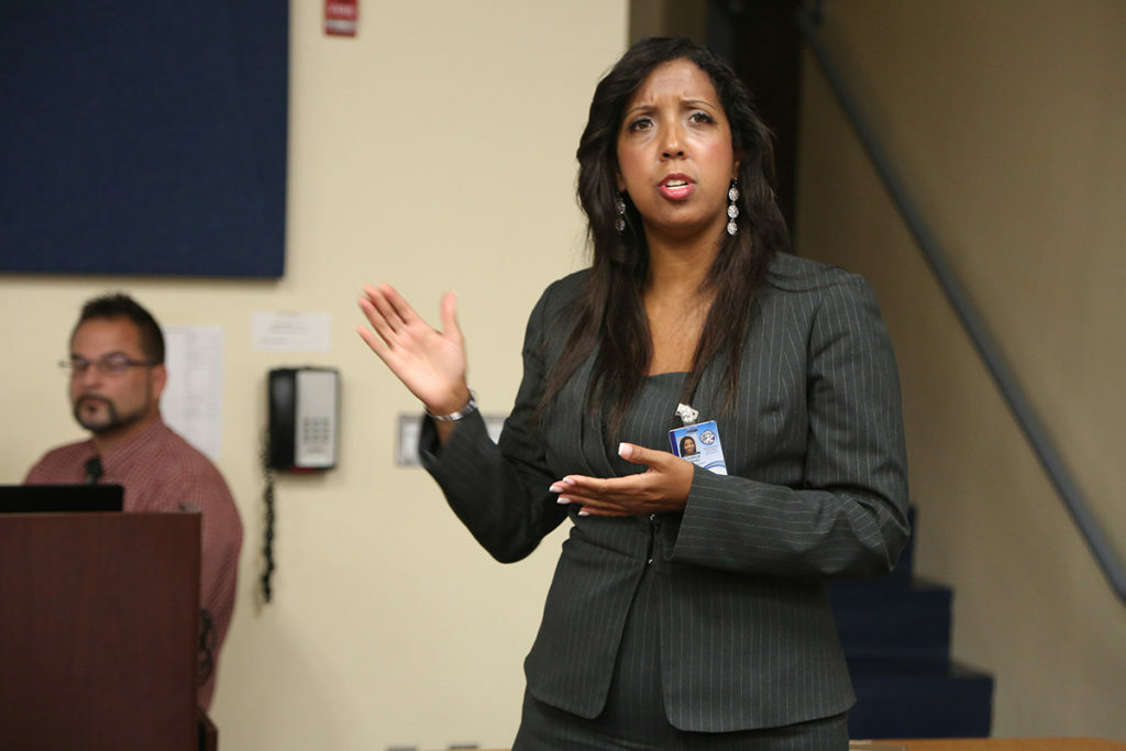 Aurelia Henriquez at a prior Board of Education meeting.  COURTESY RIVERHEAD NEWS-REVIEW