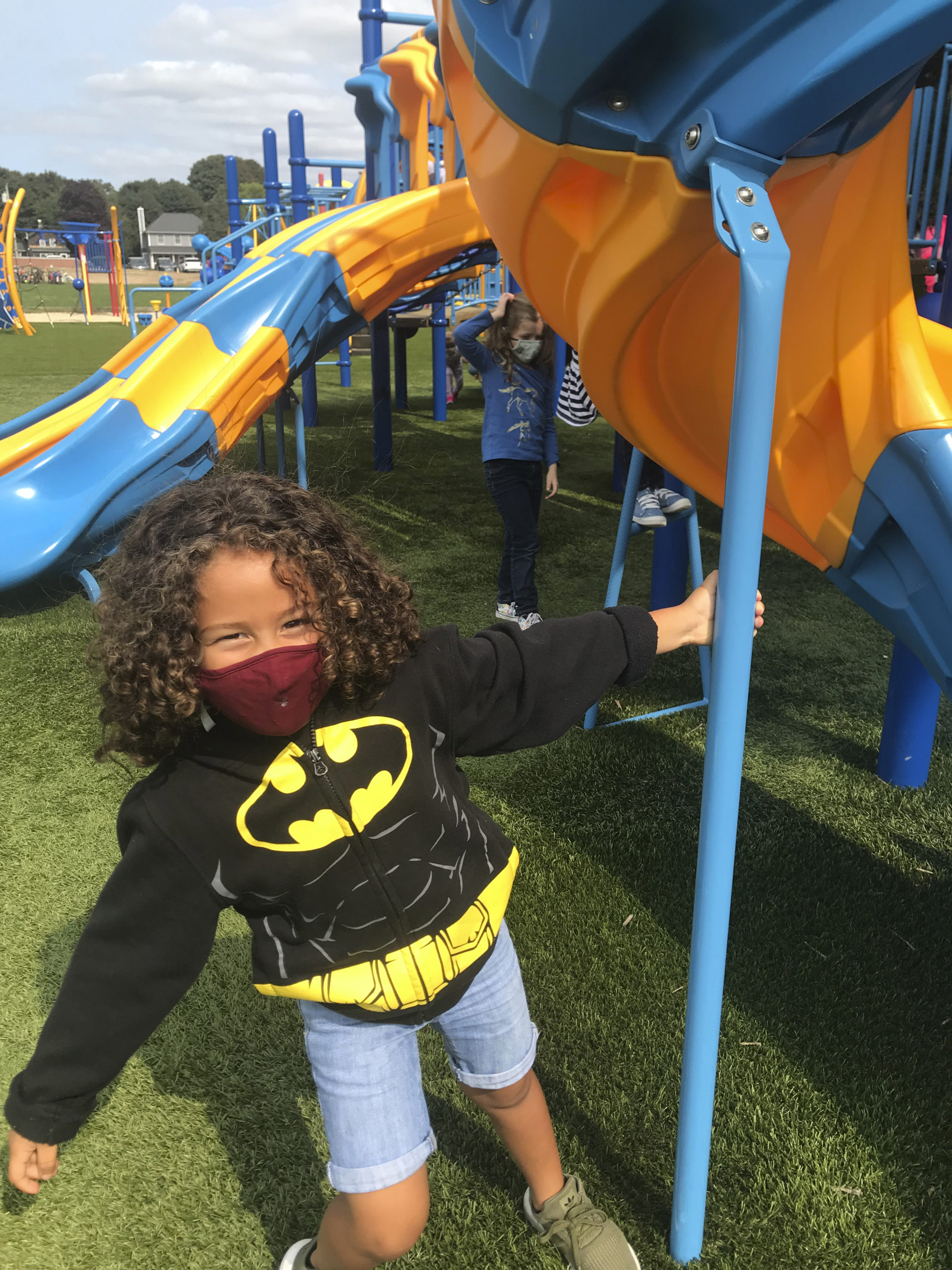 East Quogue School kindgergartner Aaron Marte enjoying the outdoors and having fun on the playground. Courtesy East Quogue School District