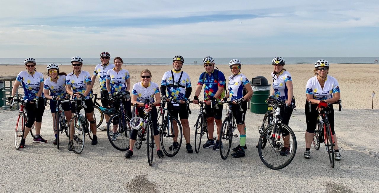 Team Flying Point at Rockaway Beach, the first rest stop in the 2019 ride.